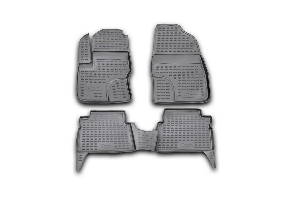 Коврики в салон автомобиля Novline-Autofamily для Ford C -Max, 2003 -, 4 шт. Nlc.16.07.210NLC.16.07.210Коврики Novline-Autofamily улучшат внешний вид салона автомобиля и надежно уберегут его от пыли, грязи и сырости, а значит, защитят кузов от коррозии. Полиуретановые коврики гладкие, приятные и не пропускает влагу. Полиуретановые автомобильные коврики произведены из высококачественного материала, который держит форму и не пачкает обувь. Коврики надежно крепятся на полу и не скользят, что очень важно во время движения, особенно для водителя. Изделия из полиуретана надежно удерживают грязь и влагу, при этом всегда выглядят довольно опрятно. И чистятся они очень просто: как при помощи автомобильного пылесоса, так и различными моющими средствами.