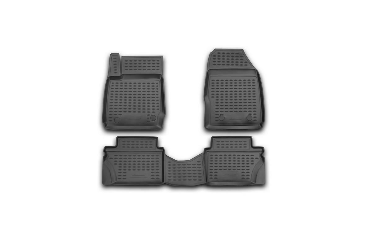 Набор автомобильных ковриков Novline-Autofamily для Ford Fiesta 2008-2011, в салон, 4 шт. NLC.16.23.210kNLC.16.23.210kНабор автомобильных ковриков Novline-Autofamily, изготовленный из полиуретана, состоит из 4 ковриков, которые учитывают все особенности каждой модели автомобиля и полностью повторяют контуры пола. Полиуретановые автомобильные коврики для салона произведены из высококачественного материала, который держит форму, прочный и не пачкает обувь. Коврики в салон не только улучшат внешний вид салона вашего автомобиля, но и надежно уберегут его от пыли, грязи и сырости, а значит, защитят кузов от коррозии. Полиуретановые коврики для автомобиля гладкие, приятные и не пропускают влагу. Ковры для автомобилей надежно крепятся на полу и не скользят, что очень важно во время движения. Чистятся коврики очень просто: как при помощи автомобильного пылесоса, так и различными моющими средствами. Набор подходит для Ford Fiesta 2008-2011 годов выпуска.