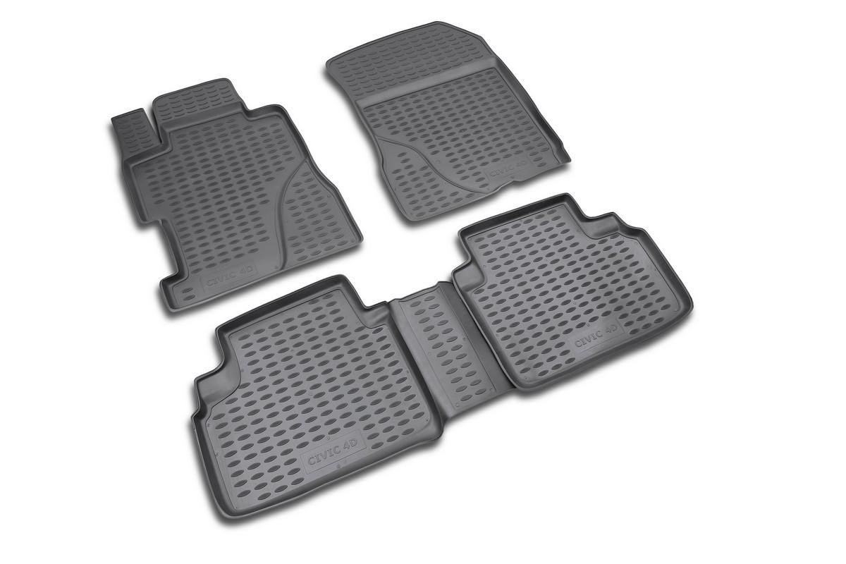 Набор автомобильных ковриков Novline-Autofamily для Honda Civic 4D 2006-, в салон, 4 штNLC.18.09.210kНабор автомобильных ковриков Novline-Autofamily, изготовленный из полиуретана, состоит из 4 ковриков, которые учитывают все особенности каждой модели автомобиля и полностью повторяют контуры пола. Полиуретановые автомобильные коврики для салона произведены из высококачественного материала, который держит форму, прочный и не пачкает обувь. Коврики в салон не только улучшат внешний вид салона вашего автомобиля, но и надежно уберегут его от пыли, грязи и сырости, а значит, защитят кузов от коррозии. Полиуретановые коврики для автомобиля гладкие, приятные и не пропускают влагу. Ковры для автомобилей надежно крепятся на полу и не скользят, что очень важно во время движения. Чистятся коврики очень просто: как при помощи автомобильного пылесоса, так и различными моющими средствами. Набор подходит для Honda Civic 4D с 2006 года выпуска.