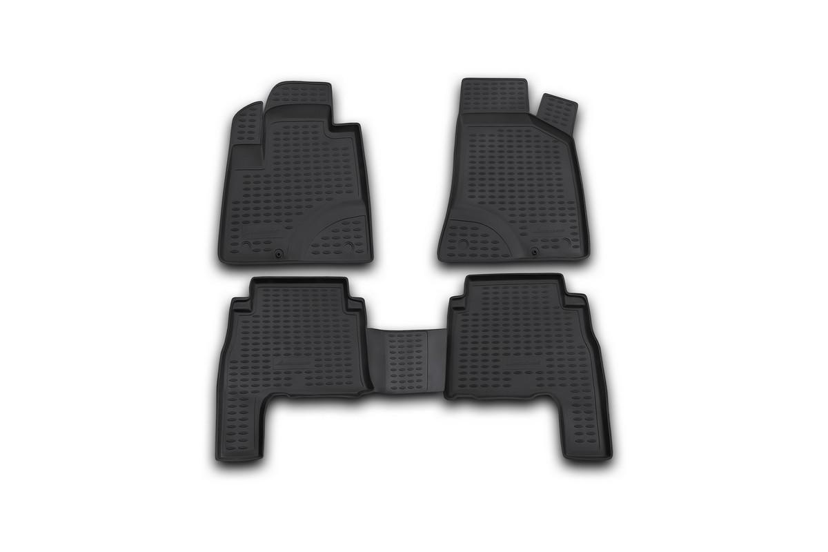 Набор автомобильных ковриков Novline-Autofamily для Hyundai Santa Fe 2006-2010, в салон, 4 шт. NLC.20.18.210khNLC.20.18.210khНабор автомобильных ковриков Novline-Autofamily, изготовленный из полиуретана, состоит из 4 ковриков, которые учитывают все особенности каждой модели автомобиля и полностью повторяют контуры пола. Полиуретановые автомобильные коврики для салона произведены из высококачественного материала, который держит форму, прочный и не пачкает обувь. Коврики в салон не только улучшат внешний вид салона вашего автомобиля, но и надежно уберегут его от пыли, грязи и сырости, а значит, защитят кузов от коррозии. Полиуретановые коврики для автомобиля гладкие, приятные и не пропускают влагу. Ковры для автомобилей надежно крепятся на полу и не скользят, что очень важно во время движения. Чистятся коврики очень просто: как при помощи автомобильного пылесоса, так и различными моющими средствами. Набор подходит для Hyundai Santa Fe 2006-2010 годов выпуска.