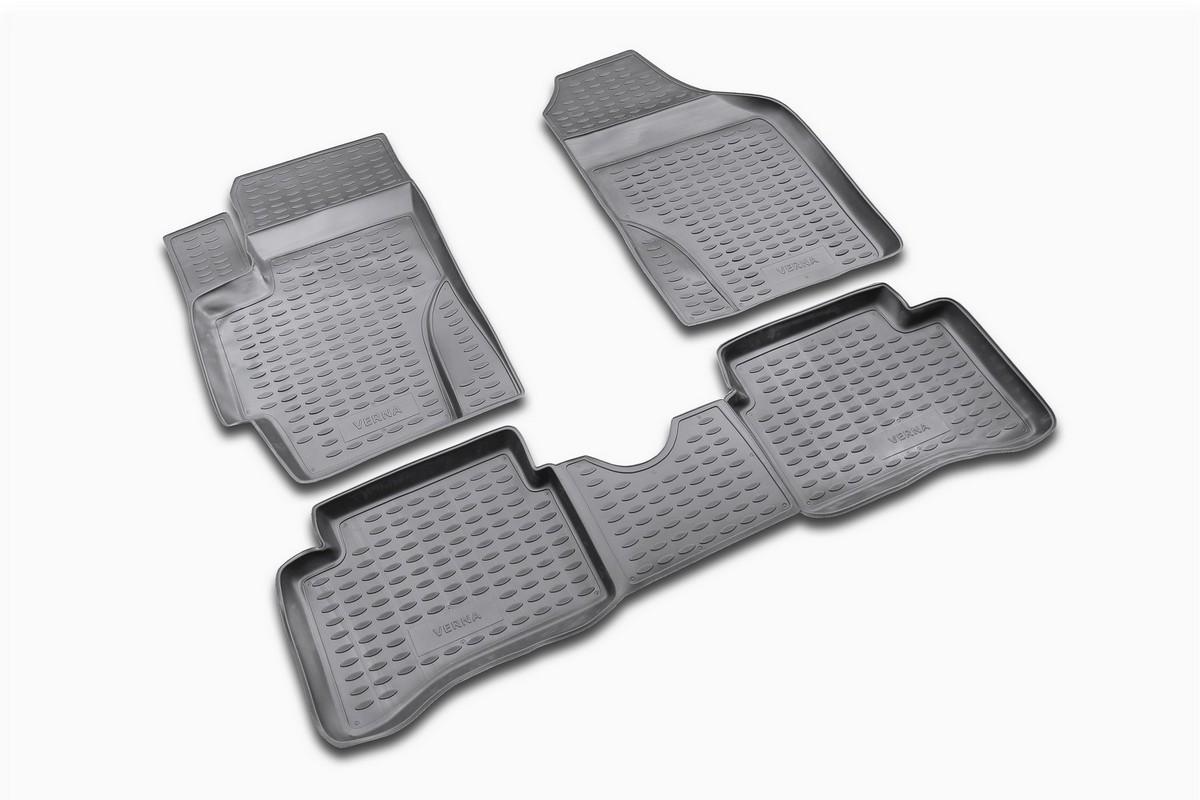 Набор автомобильных ковриков Novline-Autofamily для Hyundai Verna 2006-, в салон, 4 штNLC.20.22.210Набор автомобильных ковриков Novline-Autofamily, изготовленный из полиуретана, состоит из 4 ковриков, которые учитывают все особенности каждой модели автомобиля и полностью повторяют контуры пола. Полиуретановые автомобильные коврики для салона произведены из высококачественного материала, который держит форму, прочный и не пачкает обувь. Коврики в салон не только улучшат внешний вид салона вашего автомобиля, но и надежно уберегут его от пыли, грязи и сырости, а значит, защитят кузов от коррозии. Полиуретановые коврики для автомобиля гладкие, приятные и не пропускают влагу. Ковры для автомобилей надежно крепятся на полу и не скользят, что очень важно во время движения. Чистятся коврики очень просто: как при помощи автомобильного пылесоса, так и различными моющими средствами. Набор подходит для Hyundai Verna с 2006 года выпуска.