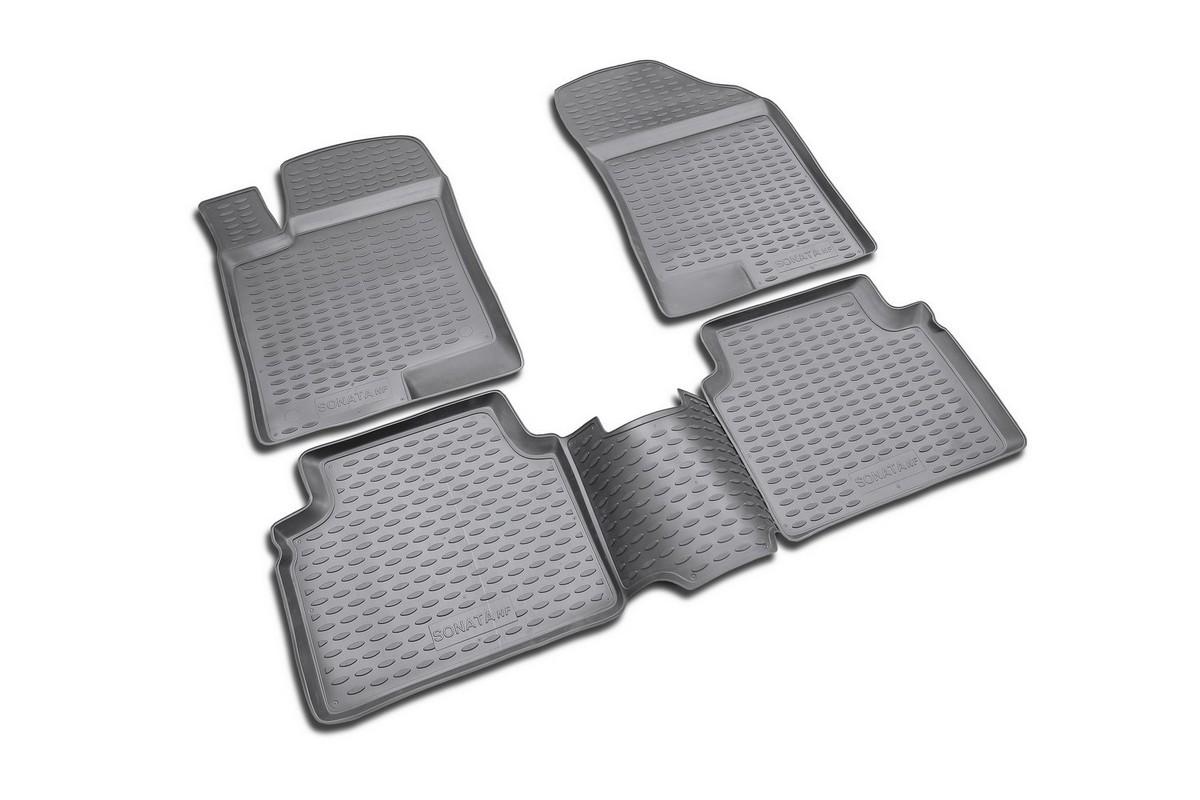 Набор автомобильных ковриков Novline-Autofamily для Hyundai NF Sonata 2008-, в салон, 4 штNLC.20.25.210Набор автомобильных ковриков Novline-Autofamily, изготовленный из полиуретана, состоит из 4 ковриков, которые учитывают все особенности каждой модели автомобиля и полностью повторяют контуры пола. Полиуретановые автомобильные коврики для салона произведены из высококачественного материала, который держит форму, прочный и не пачкает обувь. Коврики в салон не только улучшат внешний вид салона вашего автомобиля, но и надежно уберегут его от пыли, грязи и сырости, а значит, защитят кузов от коррозии. Полиуретановые коврики для автомобиля гладкие, приятные и не пропускают влагу. Ковры для автомобилей надежно крепятся на полу и не скользят, что очень важно во время движения. Чистятся коврики очень просто: как при помощи автомобильного пылесоса, так и различными моющими средствами. Набор подходит для Hyundai NF Sonata с 2008 года выпуска.