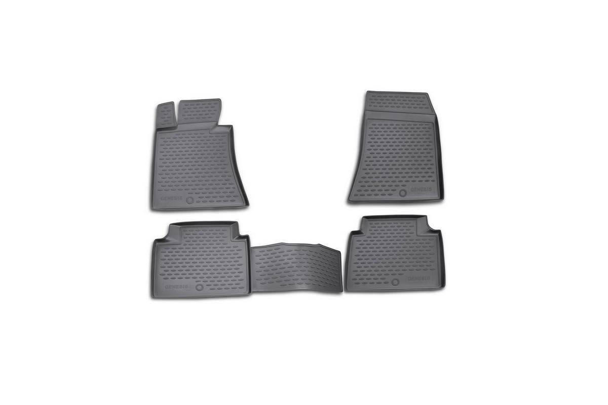 Набор автомобильных ковриков Novline-Autofamily для Hyundai Genesis 2008-, в салон, цвет: черный, 4 штNLC.20.31.210kНабор автомобильных ковриков Novline-Autofamily, изготовленный из полиуретана, состоит из 4 ковриков, которые учитывают все особенности каждой модели автомобиля и полностью повторяют контуры пола. Полиуретановые автомобильные коврики для салона произведены из высококачественного материала, который держит форму, прочный и не пачкает обувь. Коврики в салон не только улучшат внешний вид салона вашего автомобиля, но и надежно уберегут его от пыли, грязи и сырости, а значит, защитят кузов от коррозии. Полиуретановые коврики для автомобиля гладкие, приятные и не пропускают влагу. Ковры для автомобилей надежно крепятся на полу и не скользят, что очень важно во время движения. Чистятся коврики очень просто: как при помощи автомобильного пылесоса, так и различными моющими средствами. Набор подходит для Hyundai Genesis с 2008 года выпуска.