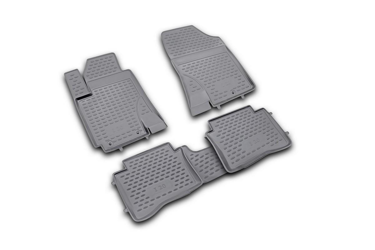 Набор автомобильных ковриков Novline-Autofamily для Hyundai i20 2009-, в салон, 4 шт. NLC.20.32.210NLC.20.32.210Набор автомобильных ковриков Novline-Autofamily, изготовленный из полиуретана, состоит из 4 ковриков, которые учитывают все особенности каждой модели автомобиля и полностью повторяют контуры пола. Полиуретановые автомобильные коврики для салона произведены из высококачественного материала, который держит форму, прочный и не пачкает обувь. Коврики в салон не только улучшат внешний вид салона вашего автомобиля, но и надежно уберегут его от пыли, грязи и сырости, а значит, защитят кузов от коррозии. Полиуретановые коврики для автомобиля гладкие, приятные и не пропускают влагу. Ковры для автомобилей надежно крепятся на полу и не скользят, что очень важно во время движения. Чистятся коврики очень просто: как при помощи автомобильного пылесоса, так и различными моющими средствами. Набор подходит для Hyundai i20 с 2009 года выпуска.