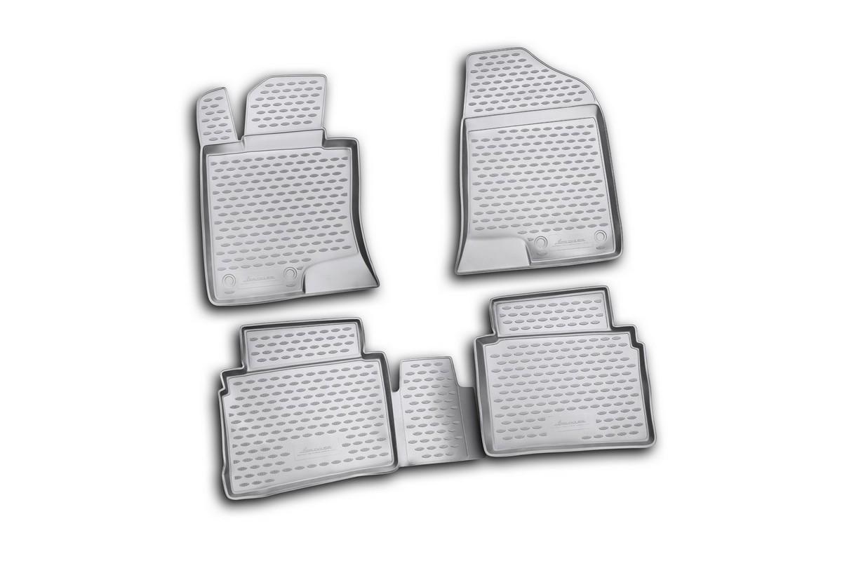 Набор автомобильных ковриков Novline-Autofamily для Hyundai Sonata 2010-, в салон, 4 штNLC.20.40.210kНабор автомобильных ковриков Novline-Autofamily, изготовленный из полиуретана, состоит из 4 ковриков, которые учитывают все особенности каждой модели автомобиля и полностью повторяют контуры пола. Полиуретановые автомобильные коврики для салона произведены из высококачественного материала, который держит форму, прочный и не пачкает обувь. Коврики в салон не только улучшат внешний вид салона вашего автомобиля, но и надежно уберегут его от пыли, грязи и сырости, а значит, защитят кузов от коррозии. Полиуретановые коврики для автомобиля гладкие, приятные и не пропускают влагу. Ковры для автомобилей надежно крепятся на полу и не скользят, что очень важно во время движения. Чистятся коврики очень просто: как при помощи автомобильного пылесоса, так и различными моющими средствами. Набор подходит для Hyundai Sonata с 2010 года выпуска.