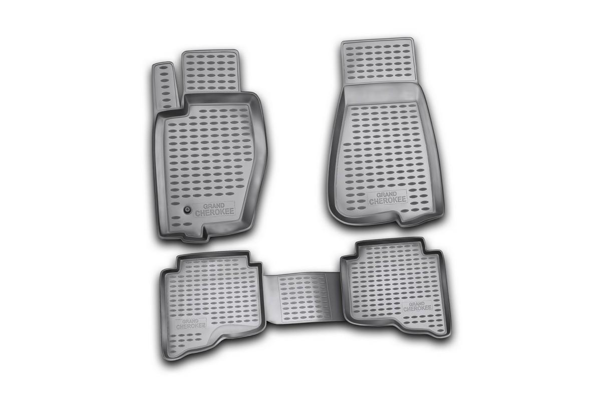 Набор автомобильных ковриков Novline-Autofamily для Jeep Grand Cherokee 01/2006-2011, в салон, 4 штNLC.24.01.210Набор автомобильных ковриков Novline-Autofamily, изготовленный из полиуретана, состоит из 4 ковриков, которые учитывают все особенности каждой модели автомобиля и полностью повторяют контуры пола. Полиуретановые автомобильные коврики для салона произведены из высококачественного материала, который держит форму, прочный и не пачкает обувь. Коврики в салон не только улучшат внешний вид салона вашего автомобиля, но и надежно уберегут его от пыли, грязи и сырости, а значит, защитят кузов от коррозии. Полиуретановые коврики для автомобиля гладкие, приятные и не пропускают влагу. Ковры для автомобилей надежно крепятся на полу и не скользят, что очень важно во время движения. Чистятся коврики очень просто: как при помощи автомобильного пылесоса, так и различными моющими средствами. Набор подходит для Jeep Grand Cherokee январь 2006-2011 годов выпуска.