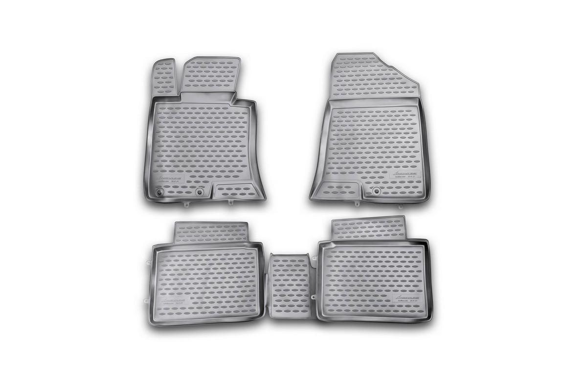 Набор автомобильных ковриков Novline-Autofamily для Kia Optima 2011-2014, в салон, 4 шт. NLC.25.41.210hNLC.25.41.210hНабор автомобильных ковриков Novline-Autofamily, изготовленный из полиуретана, состоит из 4 ковриков, которые учитывают все особенности каждой модели автомобиля и полностью повторяют контуры пола. Полиуретановые автомобильные коврики для салона произведены из высококачественного материала, который держит форму, прочный и не пачкает обувь. Коврики в салон не только улучшат внешний вид салона вашего автомобиля, но и надежно уберегут его от пыли, грязи и сырости, а значит, защитят кузов от коррозии. Полиуретановые коврики для автомобиля гладкие, приятные и не пропускают влагу. Ковры для автомобилей надежно крепятся на полу и не скользят, что очень важно во время движения. Чистятся коврики очень просто: как при помощи автомобильного пылесоса, так и различными моющими средствами. Набор подходит для Kia Optima 2011-2014 годов выпуска.