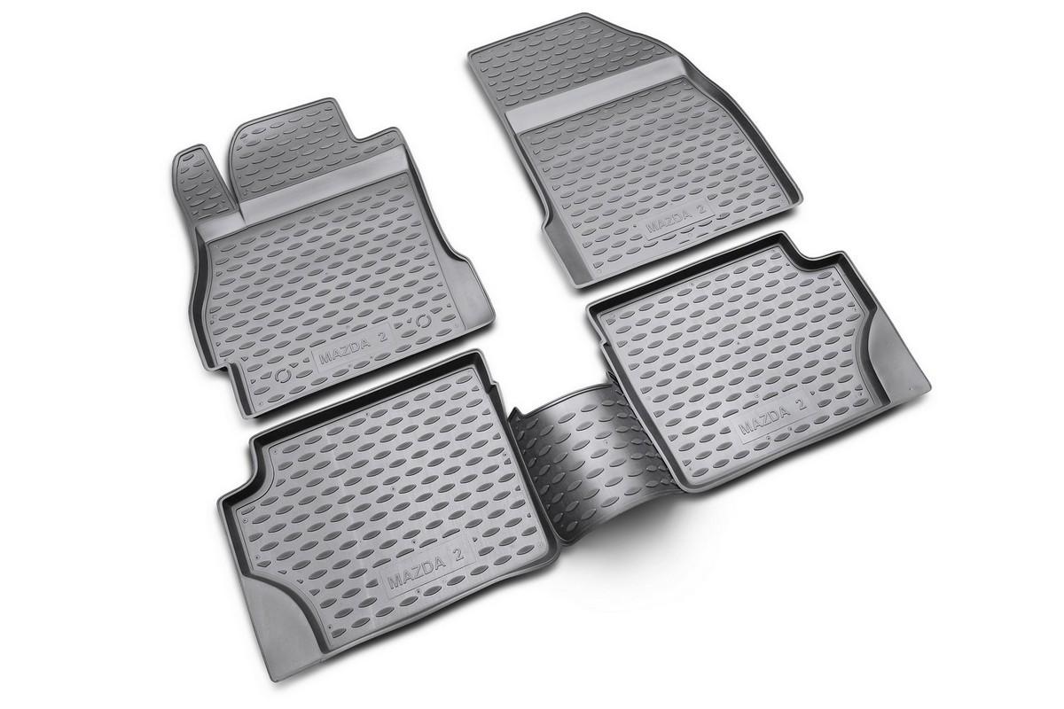 Набор автомобильных ковриков Novline-Autofamily для Mazda 2 2007-, в салон, 4 шт. NLC.33.15.210kNLC.33.15.210kНабор автомобильных ковриков Novline-Autofamily, изготовленный из полиуретана, состоит из 4 ковриков, которые учитывают все особенности каждой модели автомобиля и полностью повторяют контуры пола. Полиуретановые автомобильные коврики для салона произведены из высококачественного материала, который держит форму, прочный и не пачкает обувь. Коврики в салон не только улучшат внешний вид салона вашего автомобиля, но и надежно уберегут его от пыли, грязи и сырости, а значит, защитят кузов от коррозии. Полиуретановые коврики для автомобиля гладкие, приятные и не пропускают влагу. Ковры для автомобилей надежно крепятся на полу и не скользят, что очень важно во время движения. Чистятся коврики очень просто: как при помощи автомобильного пылесоса, так и различными моющими средствами. Набор подходит для Mazda 2 с 2007 года выпуска.