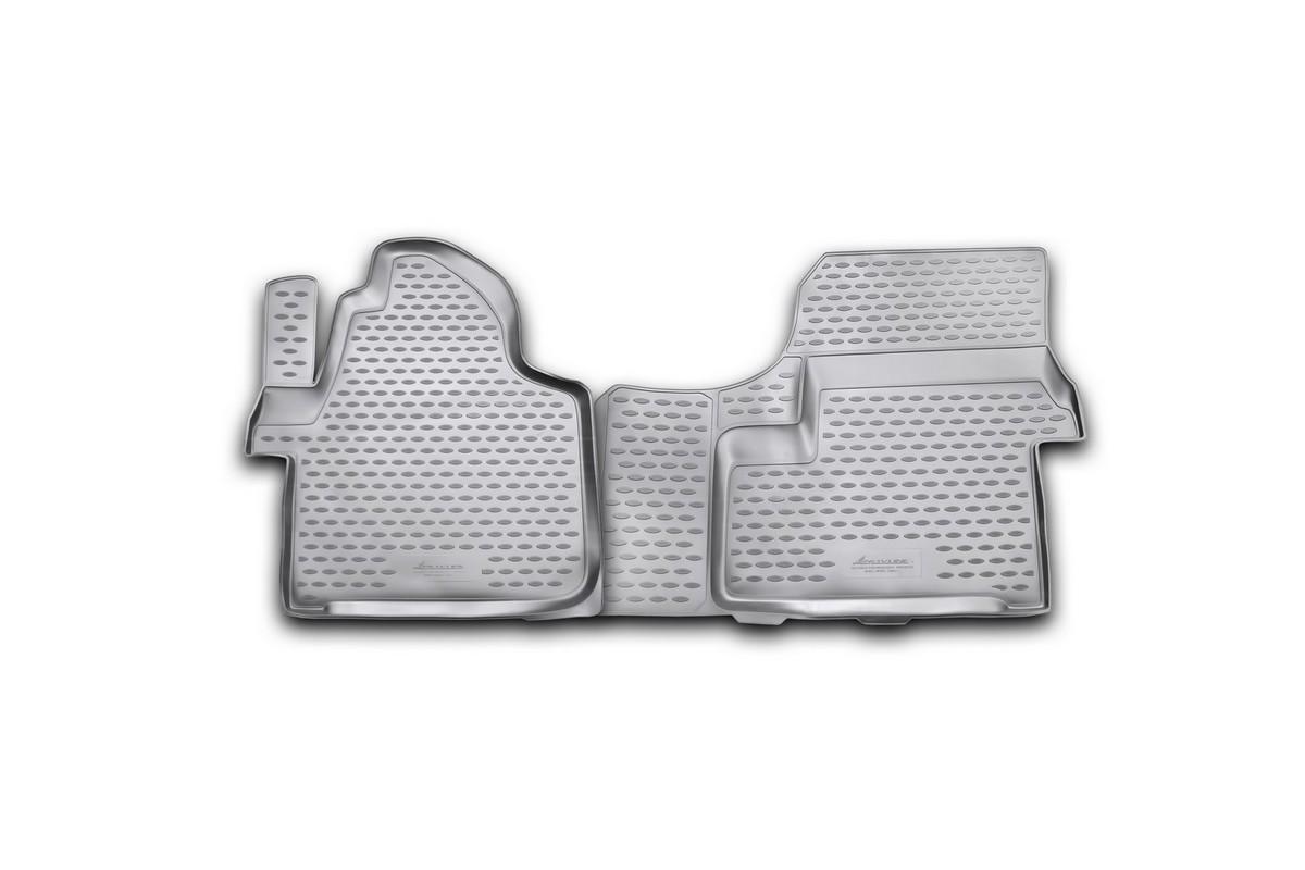 Набор автомобильных ковриков Novline-Autofamily для Mercedes-Benz Sprinter 2006-2013, в салон, 2 штNLC.34.10.210Набор автомобильных ковриков Novline-Autofamily, изготовленный из полиуретана, состоит из 2 ковриков, которые учитывают все особенности каждой модели автомобиля и полностью повторяют контуры пола. Полиуретановые автомобильные коврики для салона произведены из высококачественного материала, который держит форму, прочный и не пачкает обувь. Коврики в салон не только улучшат внешний вид салона вашего автомобиля, но и надежно уберегут его от пыли, грязи и сырости, а значит, защитят кузов от коррозии. Полиуретановые коврики для автомобиля гладкие, приятные и не пропускают влагу. Ковры для автомобилей надежно крепятся на полу и не скользят, что очень важно во время движения. Чистятся коврики очень просто: как при помощи автомобильного пылесоса, так и различными моющими средствами. Набор подходит для Mercedes-Benz Sprinter 2006-2013 годов выпуска.