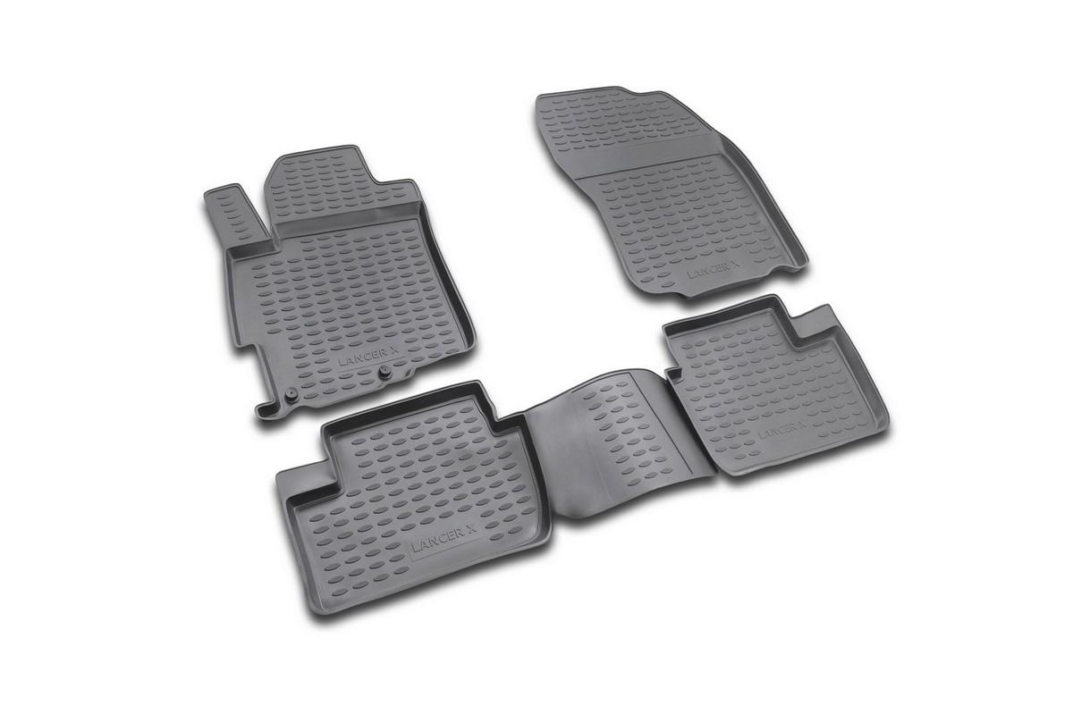 Набор автомобильных ковриков Novline-Autofamily для Mitsubishi Lancer X 03/2007-, в салон, 4 штNLC.35.13.210Набор автомобильных ковриков Novline-Autofamily, изготовленный из полиуретана, состоит из 4 ковриков, которые учитывают все особенности каждой модели автомобиля и полностью повторяют контуры пола. Полиуретановые автомобильные коврики для салона произведены из высококачественного материала, который держит форму, прочный и не пачкает обувь. Коврики в салон не только улучшат внешний вид салона вашего автомобиля, но и надежно уберегут его от пыли, грязи и сырости, а значит, защитят кузов от коррозии. Полиуретановые коврики для автомобиля гладкие, приятные и не пропускают влагу. Ковры для автомобилей надежно крепятся на полу и не скользят, что очень важно во время движения. Чистятся коврики очень просто: как при помощи автомобильного пылесоса, так и различными моющими средствами. Набор подходит для Mitsubishi Lancer X с марта 2007 года выпуска.