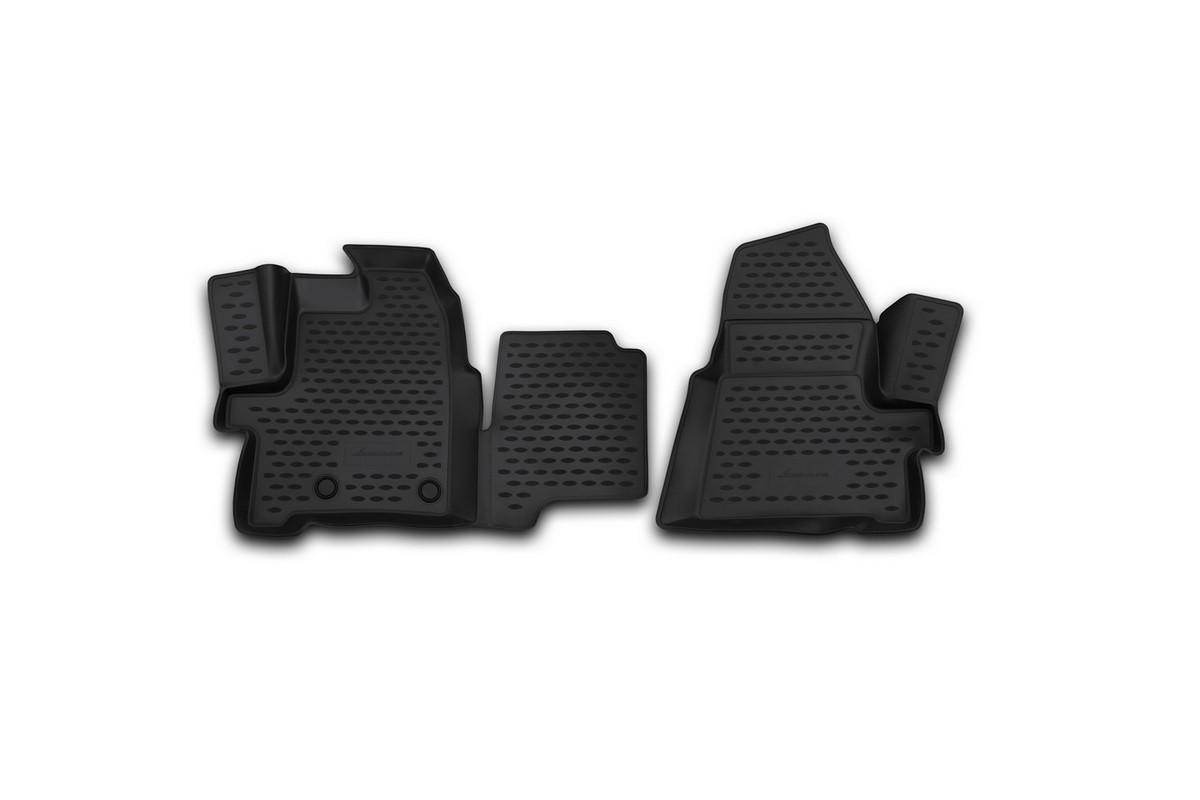 Набор автомобильных 3D-ковриков Novline-Autofamily для Ford Tourneo Custom, 2014->, в салон, 2 штNLC.3D.16.53.210kfНабор Novline-Autofamily состоит из 2 ковриков, изготовленных из полиуретана. Основная функция ковров - защита салона автомобиля от загрязнения и влаги. Это достигается за счет высоких бортов, перемычки на тоннель заднего ряда сидений, элементов формы и текстуры, свойств материала, а также запатентованной технологией 3D-перемычки в зоне отдыха ноги водителя, что обеспечивает дополнительную защиту, сохраняя салон автомобиля в первозданном виде. Материал, из которого сделаны коврики, обладает антискользящими свойствами. Для фиксации ковров в салоне автомобиля в комплекте с ними используются специальные крепежи. Форма передней части водительского ковра, уходящая под педаль акселератора, исключает нештатное заедание педалей. Набор подходит Ford Tourneo Custom c 2014 года выпуска.