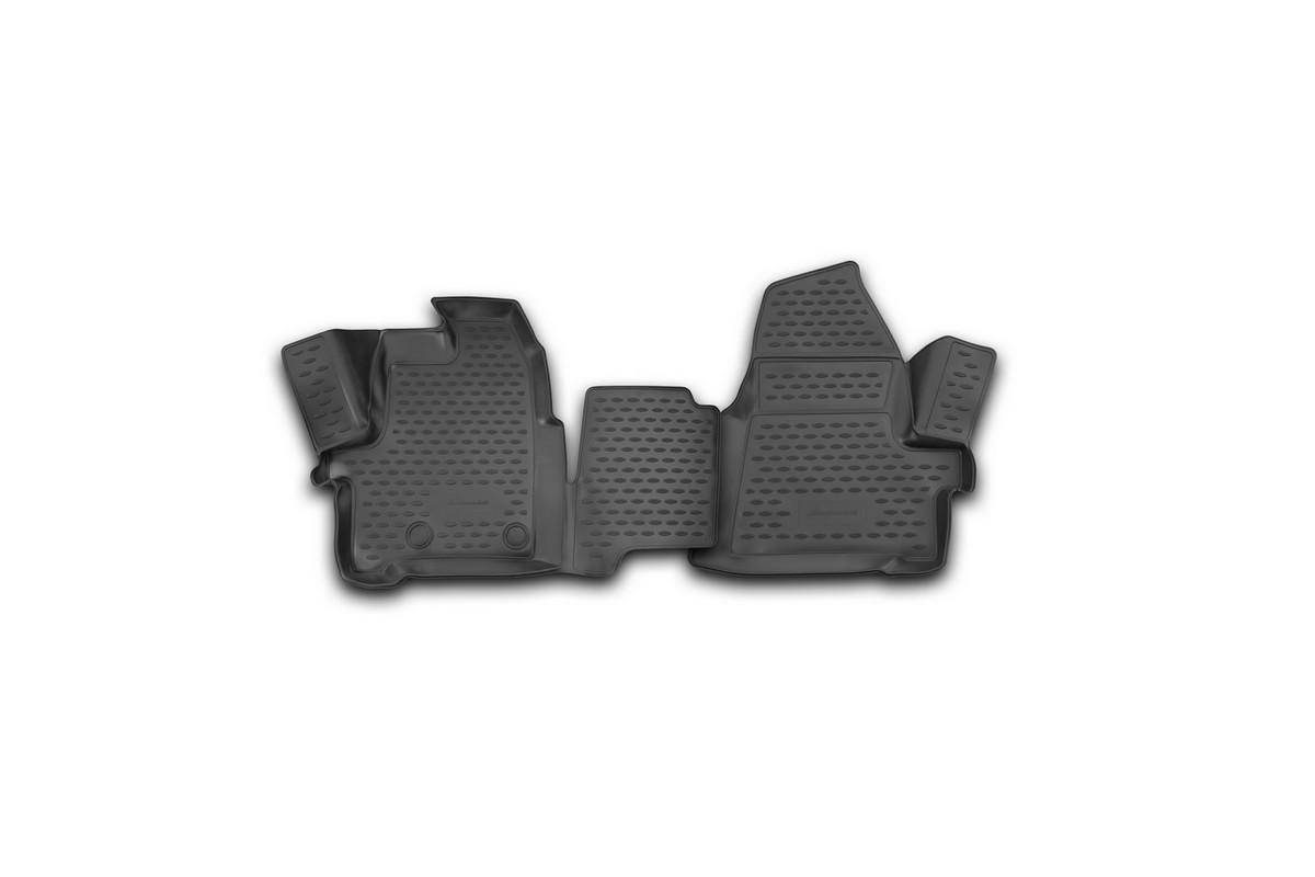 Набор автомобильных 3D-ковриков Novline-Autofamily для Ford Transit, 2014->, в салон, 2 штNLC.3D.16.60.210kНабор Novline-Autofamily состоит из 2 ковриков, изготовленных из полиуретана. Основная функция ковров - защита салона автомобиля от загрязнения и влаги. Это достигается за счет высоких бортов, перемычки на тоннель заднего ряда сидений, элементов формы и текстуры, свойств материала, а также запатентованной технологией 3D-перемычки в зоне отдыха ноги водителя, что обеспечивает дополнительную защиту, сохраняя салон автомобиля в первозданном виде. Материал, из которого сделаны коврики, обладает антискользящими свойствами. Для фиксации ковров в салоне автомобиля в комплекте с ними используются специальные крепежи. Форма передней части водительского ковра, уходящая под педаль акселератора, исключает нештатное заедание педалей. Набор подходит для Ford Transit с 2014 года выпуска.