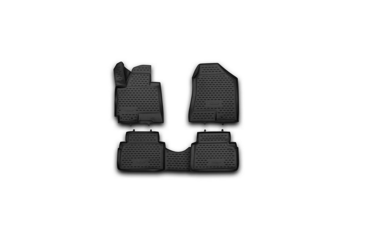 Набор автомобильных 3D-ковриков Novline-Autofamily для Hyundai ix35, 2010->, в салон, 4 штNLC.3D.20.36.210kНабор Novline-Autofamily состоит из 4 ковриков, изготовленных из полиуретана. Основная функция ковров - защита салона автомобиля от загрязнения и влаги. Это достигается за счет высоких бортов, перемычки на тоннель заднего ряда сидений, элементов формы и текстуры, свойств материала, а также запатентованной технологией 3D-перемычки в зоне отдыха ноги водителя, что обеспечивает дополнительную защиту, сохраняя салон автомобиля в первозданном виде. Материал, из которого сделаны коврики, обладает антискользящими свойствами. Для фиксации ковров в салоне автомобиля в комплекте с ними используются специальные крепежи. Форма передней части водительского ковра, уходящая под педаль акселератора, исключает нештатное заедание педалей. Набор подходит для Hyundai ix35 с 2010 года выпуска.