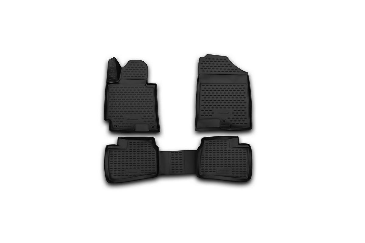 Набор автомобильных 3D-ковриков Novline-Autofamily для Hyundai Elantra, 2014->, в салон, 4 шт. NLC.3D.20.55.210NLC.3D.20.55.210Набор Novline-Autofamily состоит из 4 ковриков, изготовленных из полиуретана. Основная функция ковров - защита салона автомобиля от загрязнения и влаги. Это достигается за счет высоких бортов, перемычки на тоннель заднего ряда сидений, элементов формы и текстуры, свойств материала, а также запатентованной технологией 3D-перемычки в зоне отдыха ноги водителя, что обеспечивает дополнительную защиту, сохраняя салон автомобиля в первозданном виде. Материал, из которого сделаны коврики, обладает антискользящими свойствами. Для фиксации ковров в салоне автомобиля в комплекте с ними используются специальные крепежи. Форма передней части водительского ковра, уходящая под педаль акселератора, исключает нештатное заедание педалей. Набор подходит для Hyundai Elantra с 2014 года выпуска.