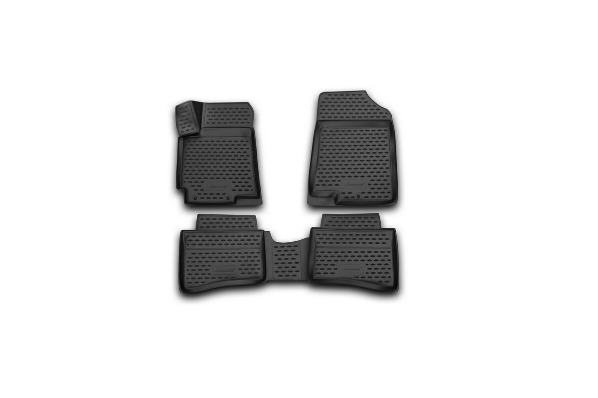 Набор автомобильных 3D-ковриков Novline-Autofamily для Hyundai Solaris, 2014->, седан, хэтчбек, в салон, 4 штNLC.3D.20.59.210Набор Novline-Autofamily состоит из 4 ковриков, изготовленных из полиуретана. Основная функция ковров - защита салона автомобиля от загрязнения и влаги. Это достигается за счет высоких бортов, перемычки на тоннель заднего ряда сидений, элементов формы и текстуры, свойств материала, а также запатентованной технологией 3D-перемычки в зоне отдыха ноги водителя, что обеспечивает дополнительную защиту, сохраняя салон автомобиля в первозданном виде. Материал, из которого сделаны коврики, обладает антискользящими свойствами. Для фиксации ковров в салоне автомобиля в комплекте с ними используются специальные крепежи. Форма передней части водительского ковра, уходящая под педаль акселератора, исключает нештатное заедание педалей. Набор подходит для Hyundai Solaris седан, хэтчбек с 2014 года выпуска.
