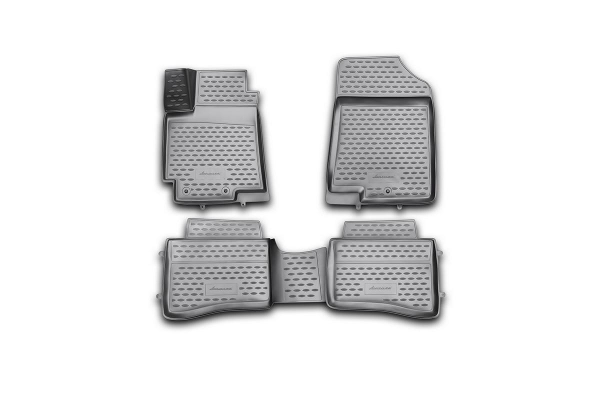 Набор автомобильных 3D-ковриков Novline-Autofamily для Kia Rio, 2011->, в салон, 4 штNLC.3D.25.38.210hНабор Novline-Autofamily состоит из 4 ковриков, изготовленных из полиуретана. Основная функция ковров - защита салона автомобиля от загрязнения и влаги. Это достигается за счет высоких бортов, перемычки на тоннель заднего ряда сидений, элементов формы и текстуры, свойств материала, а также запатентованной технологией 3D-перемычки в зоне отдыха ноги водителя, что обеспечивает дополнительную защиту, сохраняя салон автомобиля в первозданном виде. Материал, из которого сделаны коврики, обладает антискользящими свойствами. Для фиксации ковров в салоне автомобиля в комплекте с ними используются специальные крепежи. Форма передней части водительского ковра, уходящая под педаль акселератора, исключает нештатное заедание педалей. Набор подходит для Kia Rio с 2011 года выпуска.
