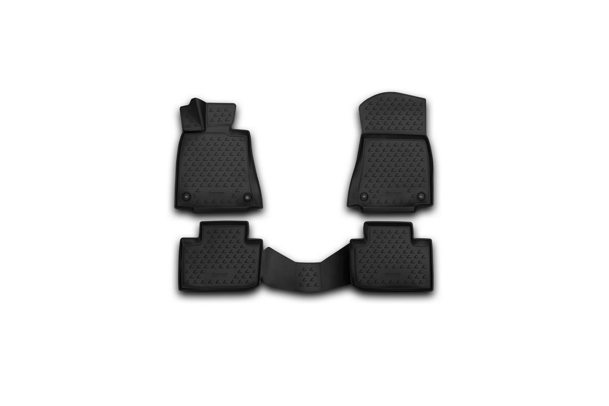Набор автомобильных 3D-ковриков Novline-Autofamily для Lexus IS250, 2013->, в салон, 4 штNLC.3D.29.30.210kНабор Novline-Autofamily состоит из 4 ковриков, изготовленных из полиуретана. Основная функция ковров - защита салона автомобиля от загрязнения и влаги. Это достигается за счет высоких бортов, перемычки на тоннель заднего ряда сидений, элементов формы и текстуры, свойств материала, а также запатентованной технологией 3D-перемычки в зоне отдыха ноги водителя, что обеспечивает дополнительную защиту, сохраняя салон автомобиля в первозданном виде. Материал, из которого сделаны коврики, обладает антискользящими свойствами. Для фиксации ковров в салоне автомобиля в комплекте с ними используются специальные крепежи. Форма передней части водительского ковра, уходящая под педаль акселератора, исключает нештатное заедание педалей. Набор подходит для Lexus IS250 с 2013 года выпуска.