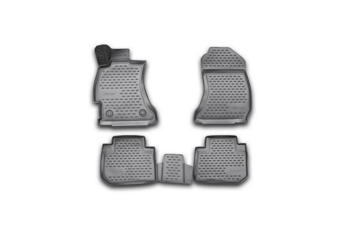 Набор автомобильных 3D-ковриков Novline-Autofamily для Subaru Forester, 2013->, в салон, 4 штNLC.3D.46.14.210kНабор Novline-Autofamily состоит из 4 ковриков, изготовленных из полиуретана. Основная функция ковров - защита салона автомобиля от загрязнения и влаги. Это достигается за счет высоких бортов, перемычки на тоннель заднего ряда сидений, элементов формы и текстуры, свойств материала, а также запатентованной технологией 3D-перемычки в зоне отдыха ноги водителя, что обеспечивает дополнительную защиту, сохраняя салон автомобиля в первозданном виде. Материал, из которого сделаны коврики, обладает антискользящими свойствами. Для фиксации ковров в салоне автомобиля в комплекте с ними используются специальные крепежи. Форма передней части водительского ковра, уходящая под педаль акселератора, исключает нештатное заедание педалей. Набор подходит для Subaru Forester с 2013 года выпуска.