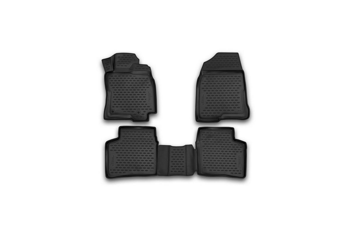 Набор автомобильных 3D-ковриков Novline-Autofamily для Toyota Prius, 2003-2009, в салон, 4 штNLC.3D.48.101.210kНабор Novline-Autofamily состоит из 4 ковриков, изготовленных из полиуретана. Основная функция ковров - защита салона автомобиля от загрязнения и влаги. Это достигается за счет высоких бортов, перемычки на тоннель заднего ряда сидений, элементов формы и текстуры, свойств материала, а также запатентованной технологией 3D-перемычки в зоне отдыха ноги водителя, что обеспечивает дополнительную защиту, сохраняя салон автомобиля в первозданном виде. Материал, из которого сделаны коврики, обладает антискользящими свойствами. Для фиксации ковров в салоне автомобиля в комплекте с ними используются специальные крепежи. Форма передней части водительского ковра, уходящая под педаль акселератора, исключает нештатное заедание педалей. Набор подходит для Toyota Prius 2003-2009 года выпуска.