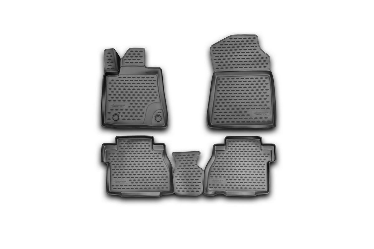 Набор автомобильных 3D-ковриков Novline-Autofamily для Toyota Tundra Double Cab/Crew MAX, 2007-2013, в салон, 4 штNLC.3D.48.58.210Набор Novline-Autofamily состоит из 4 ковриков, изготовленных из полиуретана. Основная функция ковров - защита салона автомобиля от загрязнения и влаги. Это достигается за счет высоких бортов, перемычки на тоннель заднего ряда сидений, элементов формы и текстуры, свойств материала, а также запатентованной технологией 3D-перемычки в зоне отдыха ноги водителя, что обеспечивает дополнительную защиту, сохраняя салон автомобиля в первозданном виде. Материал, из которого сделаны коврики, обладает антискользящими свойствами. Для фиксации ковров в салоне автомобиля в комплекте с ними используются специальные крепежи. Форма передней части водительского ковра, уходящая под педаль акселератора, исключает нештатное заедание педалей. Набор подходит для Toyota Tundra Double Cab/Crew MAX 2007-2013 года выпуска.