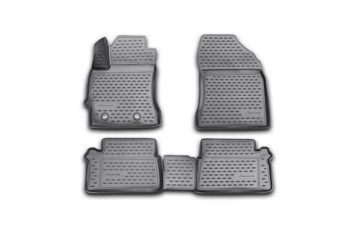 Набор автомобильных 3D-ковриков Novline-Autofamily для Toyota Auris, 2013, в салон, 4 штNLC.3D.48.62.210kНабор Novline-Autofamily состоит из 4 ковриков, изготовленных из полиуретана. Основная функция ковров - защита салона автомобиля от загрязнения и влаги. Это достигается за счет высоких бортов, перемычки на тоннель заднего ряда сидений, элементов формы и текстуры, свойств материала, а также запатентованной технологией 3D-перемычки в зоне отдыха ноги водителя, что обеспечивает дополнительную защиту, сохраняя салон автомобиля в первозданном виде. Материал, из которого сделаны коврики, обладает антискользящими свойствами. Для фиксации ковров в салоне автомобиля в комплекте с ними используются специальные крепежи. Форма передней части водительского ковра, уходящая под педаль акселератора, исключает нештатное заедание педалей. Набор подходит для Toyota Auris 2013 года выпуска.
