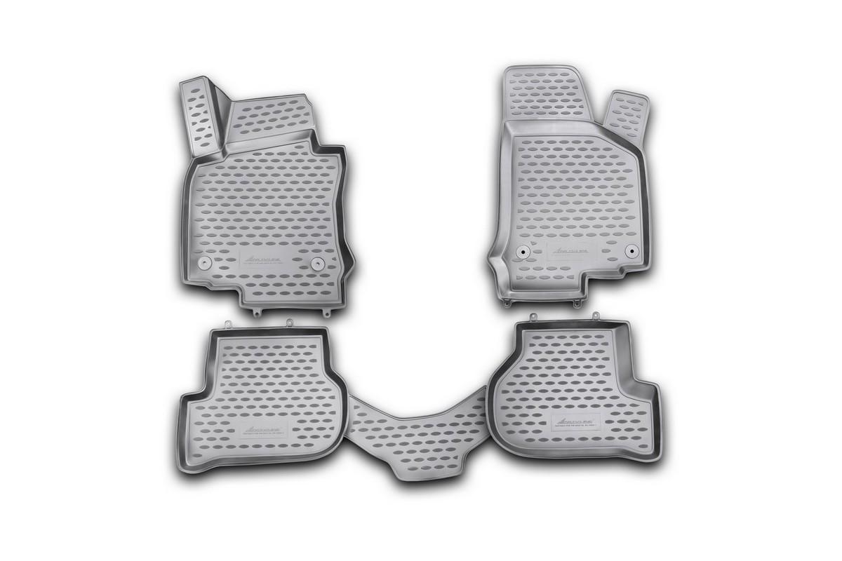 Набор автомобильных 3D-ковриков Novline-Autofamily для Volkswagen Golf VI, 2009->, в салон, 4 штNLC.3D.51.26.210khНабор Novline-Autofamily состоит из 4 ковриков, изготовленных из полиуретана. Основная функция ковров - защита салона автомобиля от загрязнения и влаги. Это достигается за счет высоких бортов, перемычки на тоннель заднего ряда сидений, элементов формы и текстуры, свойств материала, а также запатентованной технологией 3D-перемычки в зоне отдыха ноги водителя, что обеспечивает дополнительную защиту, сохраняя салон автомобиля в первозданном виде. Материал, из которого сделаны коврики, обладает антискользящими свойствами. Для фиксации ковров в салоне автомобиля в комплекте с ними используются специальные крепежи. Форма передней части водительского ковра, уходящая под педаль акселератора, исключает нештатное заедание педалей. Набор подходит для Volkswagen Golf VI с 2009 года выпуска.