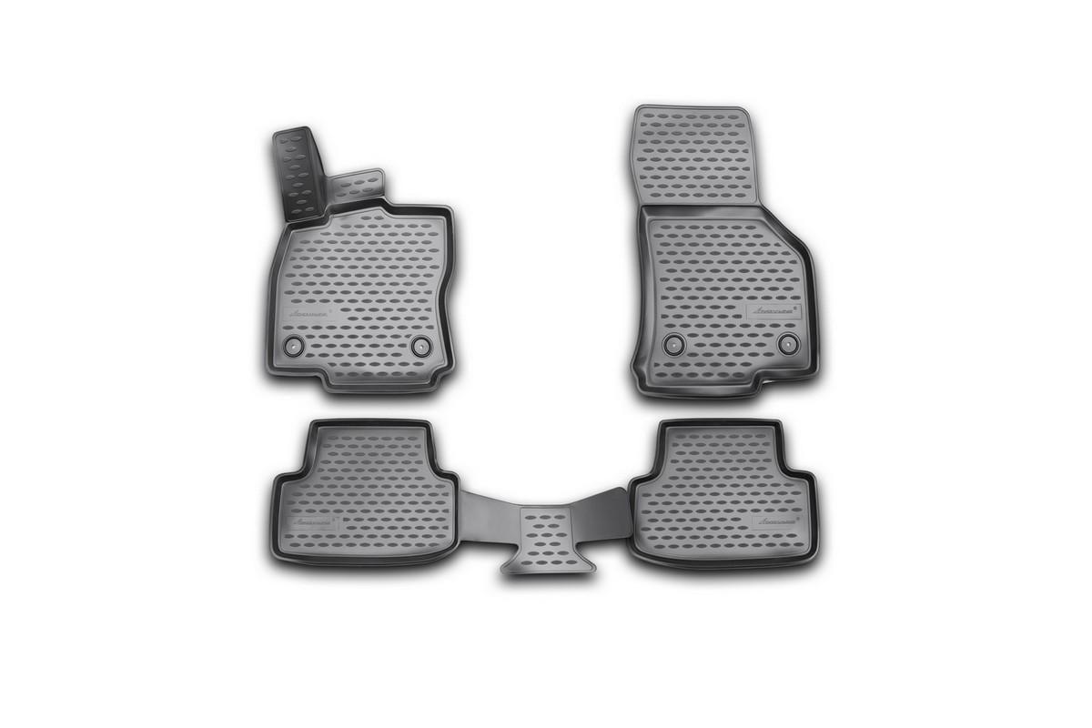 Набор автомобильных 3D-ковриков Novline-Autofamily для Volkswagen Golf VII, 2013->, в салон, 4 штNLC.3D.51.44.210kНабор Novline-Autofamily состоит из 4 ковриков, изготовленных из полиуретана. Основная функция ковров - защита салона автомобиля от загрязнения и влаги. Это достигается за счет высоких бортов, перемычки на тоннель заднего ряда сидений, элементов формы и текстуры, свойств материала, а также запатентованной технологией 3D-перемычки в зоне отдыха ноги водителя, что обеспечивает дополнительную защиту, сохраняя салон автомобиля в первозданном виде. Материал, из которого сделаны коврики, обладает антискользящими свойствами. Для фиксации ковров в салоне автомобиля в комплекте с ними используются специальные крепежи. Форма передней части водительского ковра, уходящая под педаль акселератора, исключает нештатное заедание педалей. Набор подходит для Volkswagen Golf VII с 2013 года выпуска.