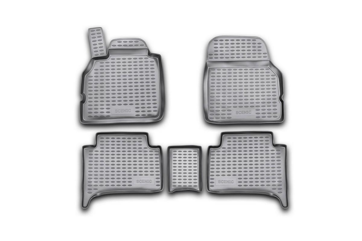 Набор автомобильных ковриков Novline-Autofamily для Renault Scenic II 2003-, в салон, цвет: черный, 5 штNLC.41.09.210Набор автомобильных ковриков Novline-Autofamily, изготовленный из полиуретана, состоит из 5 ковриков, которые учитывают все особенности каждой модели автомобиля и полностью повторяют контуры пола. Полиуретановые автомобильные коврики для салона произведены из высококачественного материала, который держит форму, прочный и не пачкает обувь. Коврики в салон не только улучшат внешний вид салона вашего автомобиля, но и надежно уберегут его от пыли, грязи и сырости, а значит, защитят кузов от коррозии. Полиуретановые коврики для автомобиля гладкие, приятные и не пропускают влагу. Ковры для автомобилей надежно крепятся на полу и не скользят, что очень важно во время движения. Чистятся коврики очень просто: как при помощи автомобильного пылесоса, так и различными моющими средствами. Набор подходит для Renault Scenic II с 2003 года выпуска.