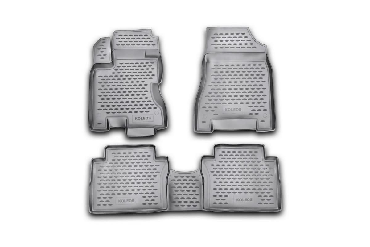Набор автомобильных ковриков Novline-Autofamily для Renault Koleos 2008-, в салон, 4 шт. NLC.41.14.210kNLC.41.14.210kНабор автомобильных ковриков Novline-Autofamily, изготовленный из полиуретана, состоит из 4 ковриков, которые учитывают все особенности каждой модели автомобиля и полностью повторяют контуры пола. Полиуретановые автомобильные коврики для салона произведены из высококачественного материала, который держит форму, прочный и не пачкает обувь. Коврики в салон не только улучшат внешний вид салона вашего автомобиля, но и надежно уберегут его от пыли, грязи и сырости, а значит, защитят кузов от коррозии. Полиуретановые коврики для автомобиля гладкие, приятные и не пропускают влагу. Ковры для автомобилей надежно крепятся на полу и не скользят, что очень важно во время движения. Чистятся коврики очень просто: как при помощи автомобильного пылесоса, так и различными моющими средствами. Набор подходит для Renault Koleos с 2008 года выпуска.