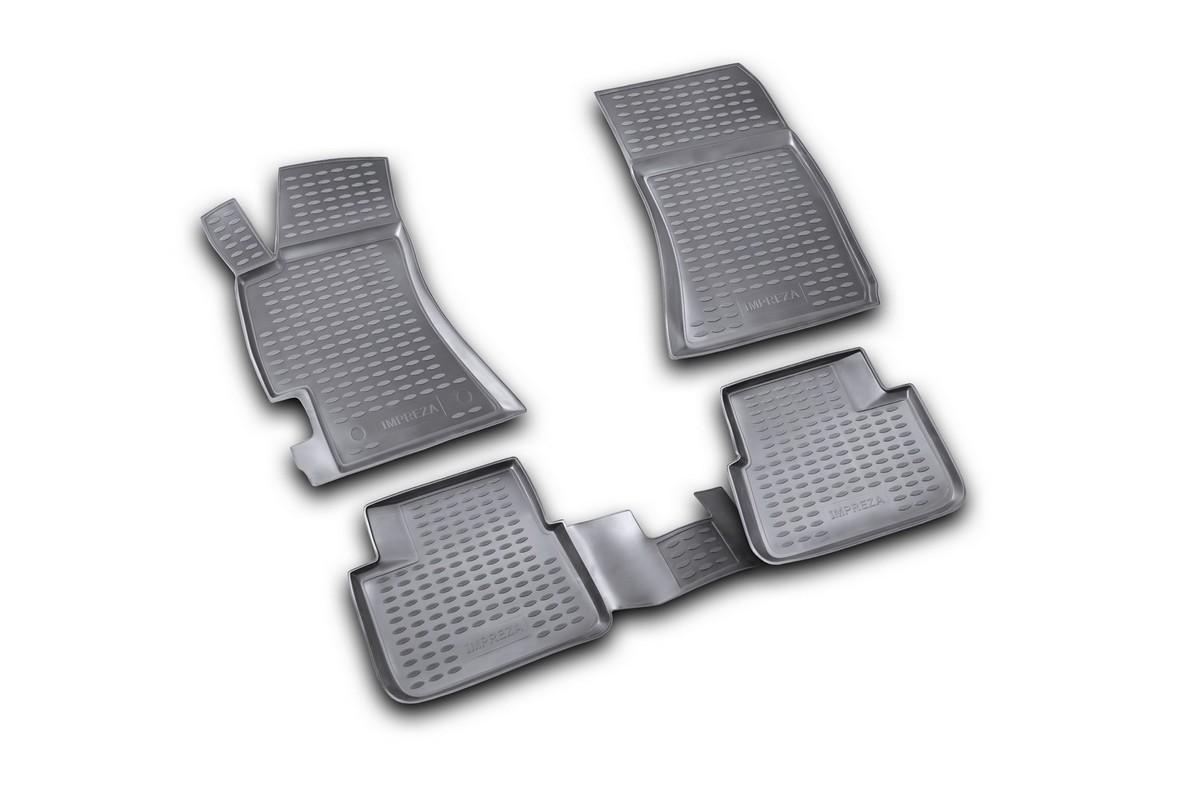 Набор автомобильных ковриков Novline-Autofamily для Subaru Impreza 2007-, в салон, 4 шт. NLC.46.07.210kNLC.46.07.210kНабор автомобильных ковриков Novline-Autofamily, изготовленный из полиуретана, состоит из 4 ковриков, которые учитывают все особенности каждой модели автомобиля и полностью повторяют контуры пола. Полиуретановые автомобильные коврики для салона произведены из высококачественного материала, который держит форму, прочный и не пачкает обувь. Коврики в салон не только улучшат внешний вид салона вашего автомобиля, но и надежно уберегут его от пыли, грязи и сырости, а значит, защитят кузов от коррозии. Полиуретановые коврики для автомобиля гладкие, приятные и не пропускают влагу. Ковры для автомобилей надежно крепятся на полу и не скользят, что очень важно во время движения. Чистятся коврики очень просто: как при помощи автомобильного пылесоса, так и различными моющими средствами. Набор подходит для Subaru Impreza с 2007 года выпуска.