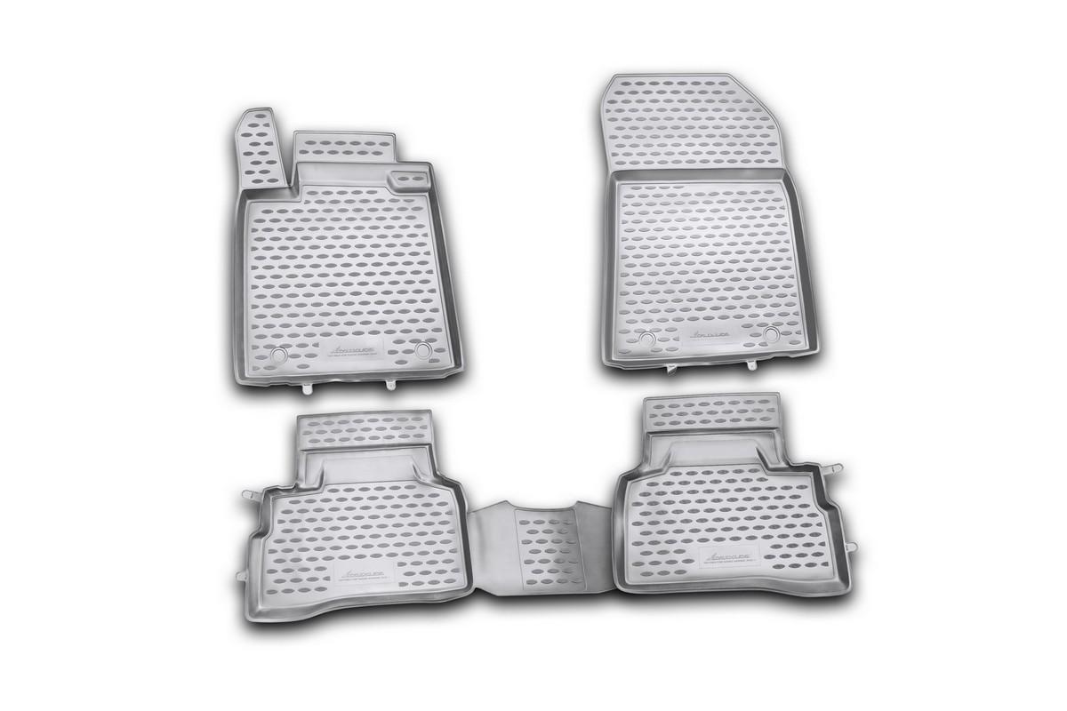 Набор автомобильных ковриков Novline-Autofamily для Suzuki Kizashi 2010-, в салон, 4 шт. NLC.47.20.210khNLC.47.20.210khНабор автомобильных ковриков Novline-Autofamily, изготовленный из полиуретана, состоит из 4 ковриков, которые учитывают все особенности каждой модели автомобиля и полностью повторяют контуры пола. Полиуретановые автомобильные коврики для салона произведены из высококачественного материала, который держит форму, прочный и не пачкает обувь. Коврики в салон не только улучшат внешний вид салона вашего автомобиля, но и надежно уберегут его от пыли, грязи и сырости, а значит, защитят кузов от коррозии. Полиуретановые коврики для автомобиля гладкие, приятные и не пропускают влагу. Ковры для автомобилей надежно крепятся на полу и не скользят, что очень важно во время движения. Чистятся коврики очень просто: как при помощи автомобильного пылесоса, так и различными моющими средствами. Набор подходит для Suzuki Kizashi с 2010 года выпуска.