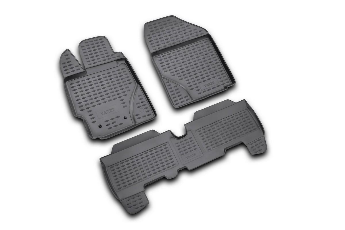 Набор автомобильных ковриков Novline-Autofamily для Toyota Yaris 01/2006-, в салон, 3 штNLC.48.10.210kНабор автомобильных ковриков Novline-Autofamily, изготовленный из полиуретана, состоит из 3 ковриков, которые учитывают все особенности каждой модели автомобиля и полностью повторяют контуры пола. Полиуретановые автомобильные коврики для салона произведены из высококачественного материала, который держит форму, прочный и не пачкает обувь. Коврики в салон не только улучшат внешний вид салона вашего автомобиля, но и надежно уберегут его от пыли, грязи и сырости, а значит, защитят кузов от коррозии. Полиуретановые коврики для автомобиля гладкие, приятные и не пропускают влагу. Ковры для автомобилей надежно крепятся на полу и не скользят, что очень важно во время движения. Чистятся коврики очень просто: как при помощи автомобильного пылесоса, так и различными моющими средствами. Набор подходит для Toyota Yaris с января 2006 года выпуска.