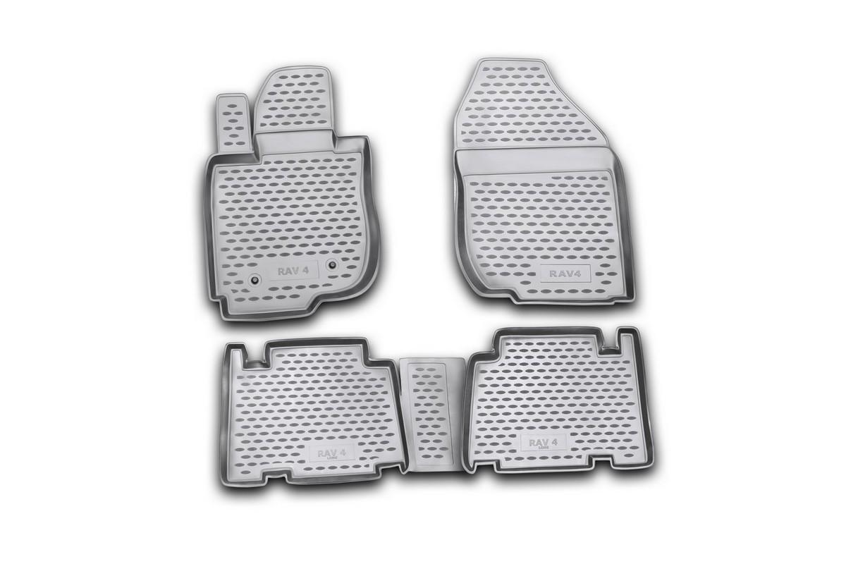 Набор автомобильных ковриков Novline-Autofamily для Toyota RAV4 long 01/2006-, в салон, 4 штNLC.48.18.210Набор автомобильных ковриков Novline-Autofamily, изготовленный из полиуретана, состоит из 4 ковриков, которые учитывают все особенности каждой модели автомобиля и полностью повторяют контуры пола. Полиуретановые автомобильные коврики для салона произведены из высококачественного материала, который держит форму, прочный и не пачкает обувь. Коврики в салон не только улучшат внешний вид салона вашего автомобиля, но и надежно уберегут его от пыли, грязи и сырости, а значит, защитят кузов от коррозии. Полиуретановые коврики для автомобиля гладкие, приятные и не пропускают влагу. Ковры для автомобилей надежно крепятся на полу и не скользят, что очень важно во время движения. Чистятся коврики очень просто: как при помощи автомобильного пылесоса, так и различными моющими средствами. Набор подходит для Toyota RAV4 long с января 2006 года выпуска.
