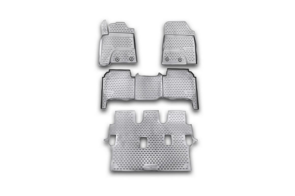 Набор автомобильных ковриков Novline-Autofamily для Toyota Land Cruiser 200 01/2012-, в салон, 4 штNLC.48.53.210kНабор автомобильных ковриков Novline-Autofamily, изготовленный из полиуретана, состоит из 4 ковриков, которые учитывают все особенности каждой модели автомобиля и полностью повторяют контуры пола. Полиуретановые автомобильные коврики для салона произведены из высококачественного материала, который держит форму, прочный и не пачкает обувь. Коврики в салон не только улучшат внешний вид салона вашего автомобиля, но и надежно уберегут его от пыли, грязи и сырости, а значит, защитят кузов от коррозии. Полиуретановые коврики для автомобиля гладкие, приятные и не пропускают влагу. Ковры для автомобилей надежно крепятся на полу и не скользят, что очень важно во время движения. Чистятся коврики очень просто: как при помощи автомобильного пылесоса, так и различными моющими средствами. Набор подходит для Toyota Land Cruiser 200 с января 2012 года выпуска.