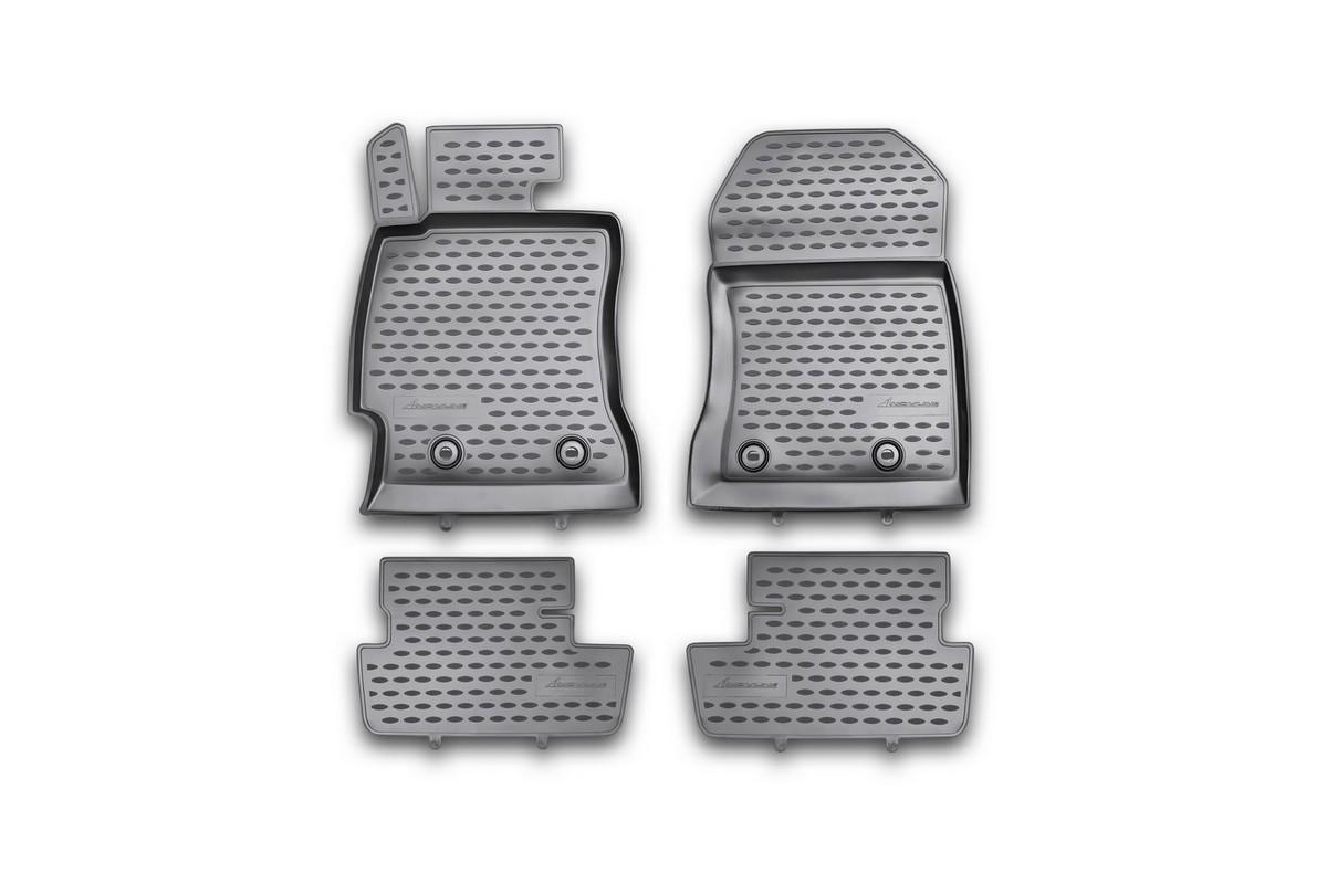 Набор автомобильных ковриков Novline-Autofamily для Toyota GT 86 2012-, в салон, 4 штNLC.48.54.210khНабор автомобильных ковриков Novline-Autofamily, изготовленный из полиуретана, состоит из 4 ковриков, которые учитывают все особенности каждой модели автомобиля и полностью повторяют контуры пола. Полиуретановые автомобильные коврики для салона произведены из высококачественного материала, который держит форму, прочный и не пачкает обувь. Коврики в салон не только улучшат внешний вид салона вашего автомобиля, но и надежно уберегут его от пыли, грязи и сырости, а значит, защитят кузов от коррозии. Полиуретановые коврики для автомобиля гладкие, приятные и не пропускают влагу. Ковры для автомобилей надежно крепятся на полу и не скользят, что очень важно во время движения. Чистятся коврики очень просто: как при помощи автомобильного пылесоса, так и различными моющими средствами. Набор подходит для Toyota GT 86 с 2012 года выпуска.