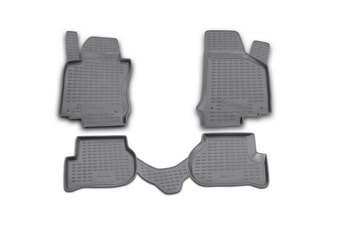 Набор автомобильных ковриков Novline-Autofamily для Volkswagen Golf V 10/2003-2009, в салон, цвет: черный, оранжевый, 4 штNLC.51.05.210Набор автомобильных ковриков Novline-Autofamily, изготовленный из полиуретана, состоит из 4 ковриков, которые учитывают все особенности каждой модели автомобиля и полностью повторяют контуры пола. Полиуретановые автомобильные коврики для салона произведены из высококачественного материала, который держит форму, прочный и не пачкает обувь. Коврики в салон не только улучшат внешний вид салона вашего автомобиля, но и надежно уберегут его от пыли, грязи и сырости, а значит, защитят кузов от коррозии. Полиуретановые коврики для автомобиля гладкие, приятные и не пропускают влагу. Ковры для автомобилей надежно крепятся на полу и не скользят, что очень важно во время движения. Чистятся коврики очень просто: как при помощи автомобильного пылесоса, так и различными моющими средствами. Набор подходит для Volkswagen Golf V октябрь 2003 - 2009 годов выпуска.