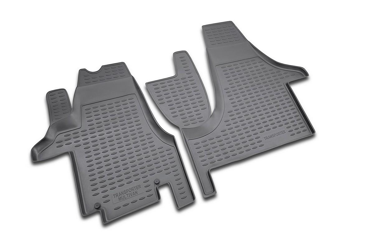 Набор автомобильных ковриков Novline-Autofamily для Volkswagen Transporter 2004-, в салон, цвет: черный, 2 штNLC.51.11.210Набор автомобильных ковриков Novline-Autofamily, изготовленный из полиуретана, состоит из 2 ковриков, которые учитывают все особенности каждой модели автомобиля и полностью повторяют контуры пола. Полиуретановые автомобильные коврики для салона произведены из высококачественного материала, который держит форму, прочный и не пачкает обувь. Коврики в салон не только улучшат внешний вид салона вашего автомобиля, но и надежно уберегут его от пыли, грязи и сырости, а значит, защитят кузов от коррозии. Полиуретановые коврики для автомобиля гладкие, приятные и не пропускают влагу. Ковры для автомобилей надежно крепятся на полу и не скользят, что очень важно во время движения. Чистятся коврики очень просто: как при помощи автомобильного пылесоса, так и различными моющими средствами. Набор подходит для Volkswagen Transporter с 2004 года выпуска.