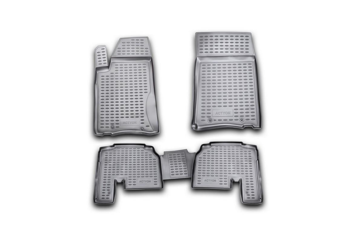 Набор автомобильных ковриков Novline-Autofamily для SsangYong Actyon 2006-, в салон, 4 штNLC.61.07.210Набор автомобильных ковриков Novline-Autofamily, изготовленный из полиуретана, состоит из 4 ковриков, которые учитывают все особенности каждой модели автомобиля и полностью повторяют контуры пола. Полиуретановые автомобильные коврики для салона произведены из высококачественного материала, который держит форму, прочный и не пачкает обувь. Коврики в салон не только улучшат внешний вид салона вашего автомобиля, но и надежно уберегут его от пыли, грязи и сырости, а значит, защитят кузов от коррозии. Полиуретановые коврики для автомобиля гладкие, приятные и не пропускают влагу. Ковры для автомобилей надежно крепятся на полу и не скользят, что очень важно во время движения. Чистятся коврики очень просто: как при помощи автомобильного пылесоса, так и различными моющими средствами. Набор подходит для SsangYong Actyon с 2006 года выпуска.