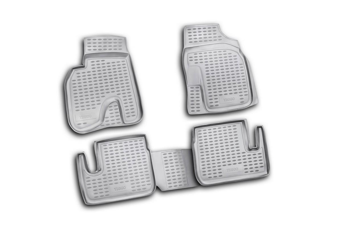 Набор автомобильных ковриков Novline-Autofamily для CheryTiggo 01/2006-2013, в салон, 4 штNLC.63.03.210Набор автомобильных ковриков Novline-Autofamily, изготовленный из полиуретана, состоит из 4 ковриков, которые учитывают все особенности каждой модели автомобиля и полностью повторяют контуры пола. Полиуретановые автомобильные коврики для салона произведены из высококачественного материала, который держит форму, прочный и не пачкает обувь. Коврики в салон не только улучшат внешний вид салона вашего автомобиля, но и надежно уберегут его от пыли, грязи и сырости, а значит, защитят кузов от коррозии. Полиуретановые коврики для автомобиля гладкие, приятные и не пропускают влагу. Ковры для автомобилей надежно крепятся на полу и не скользят, что очень важно во время движения. Чистятся коврики очень просто: как при помощи автомобильного пылесоса, так и различными моющими средствами. Набор подходит для CheryTiggo январь 2006 - 2013 годов выпуска.