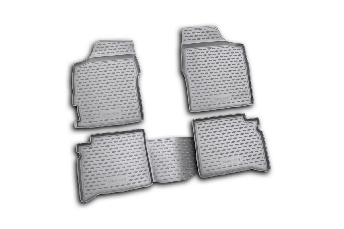 Набор автомобильных ковриков Novline-Autofamily для Chery QQ6 06/2006-, в салон, 4 шт. NLC.63.05.210kNLC.63.05.210kНабор автомобильных ковриков Novline-Autofamily, изготовленный из полиуретана, состоит из 4 ковриков, которые учитывают все особенности каждой модели автомобиля и полностью повторяют контуры пола. Полиуретановые автомобильные коврики для салона произведены из высококачественного материала, который держит форму, прочный и не пачкает обувь. Коврики в салон не только улучшат внешний вид салона вашего автомобиля, но и надежно уберегут его от пыли, грязи и сырости, а значит, защитят кузов от коррозии. Полиуретановые коврики для автомобиля гладкие, приятные и не пропускают влагу. Ковры для автомобилей надежно крепятся на полу и не скользят, что очень важно во время движения. Чистятся коврики очень просто: как при помощи автомобильного пылесоса, так и различными моющими средствами. Набор подходит для Chery QQ6 с июня 2006 года выпуска.