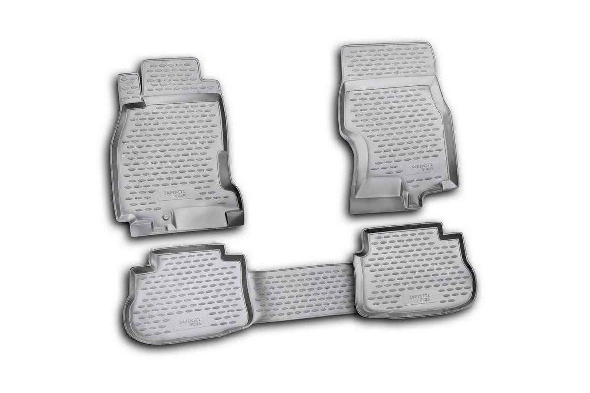 Набор автомобильных ковриков Novline-Autofamily для Infiniti FX35 2003-2009, в салон, цвет: черный, 4 штNLC.76.01.210Набор автомобильных ковриков Novline-Autofamily, изготовленный из полиуретана, состоит из 4 ковриков, которые учитывают все особенности каждой модели автомобиля и полностью повторяют контуры пола. Полиуретановые автомобильные коврики для салона произведены из высококачественного материала, который держит форму, прочный и не пачкает обувь. Коврики в салон не только улучшат внешний вид салона вашего автомобиля, но и надежно уберегут его от пыли, грязи и сырости, а значит, защитят кузов от коррозии. Полиуретановые коврики для автомобиля гладкие, приятные и не пропускают влагу. Ковры для автомобилей надежно крепятся на полу и не скользят, что очень важно во время движения. Чистятся коврики очень просто: как при помощи автомобильного пылесоса, так и различными моющими средствами. Набор подходит для InfinitiI FX35 2003-2009 годов выпуска.