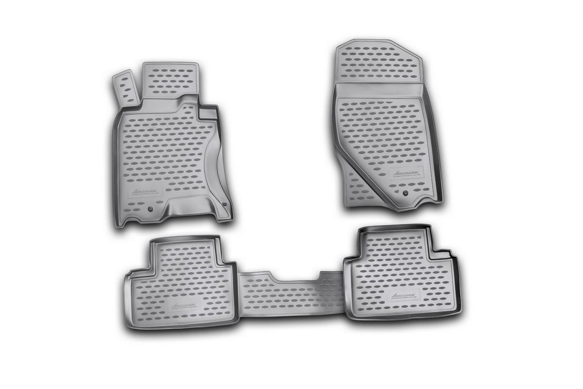 Набор автомобильных ковриков Novline-Autofamily для Infiniti G35X 2009-, в салон, 4 штNLC.76.07.210kНабор автомобильных ковриков Novline-Autofamily, изготовленный из полиуретана, состоит из 4 ковриков, которые учитывают все особенности каждой модели автомобиля и полностью повторяют контуры пола. Полиуретановые автомобильные коврики для салона произведены из высококачественного материала, который держит форму, прочный и не пачкает обувь. Коврики в салон не только улучшат внешний вид салона вашего автомобиля, но и надежно уберегут его от пыли, грязи и сырости, а значит, защитят кузов от коррозии. Полиуретановые коврики для автомобиля гладкие, приятные и не пропускают влагу. Ковры для автомобилей надежно крепятся на полу и не скользят, что очень важно во время движения. Чистятся коврики очень просто: как при помощи автомобильного пылесоса, так и различными моющими средствами. Набор подходит для Infiniti G35X с 2009 года выпуска.