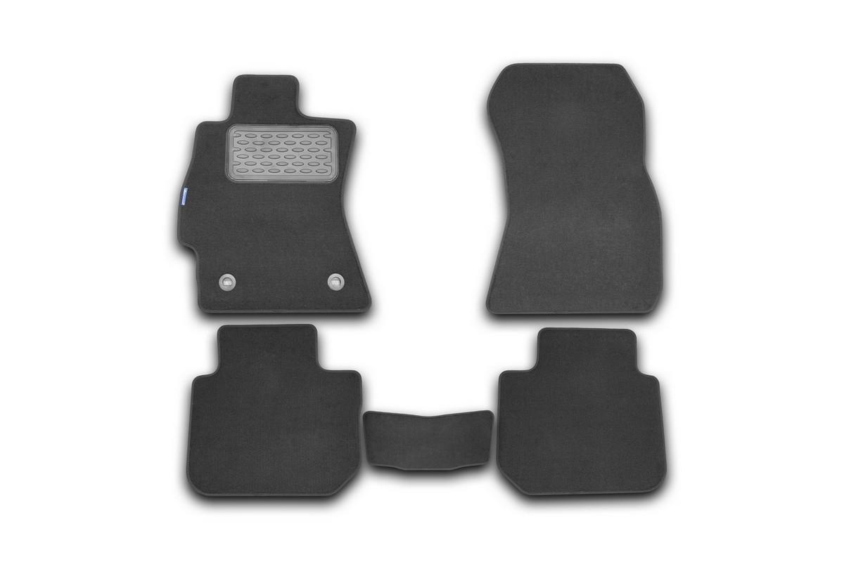 Набор автомобильных ковриков Novline-Autofamily для Subaru Legacy 2010-, седан, в салон, 5 штNLT.46.14.11.110khНабор автомобильных ковриков Novline-Autofamily, изготовленный из текстиля, состоит из 5 ковриков, которые учитывают все особенности каждой модели автомобиля и полностью повторяют контуры пола. Текстильные автомобильные коврики для салона произведены из высококачественного материала, который держит форму, прочный и не пачкает обувь. Коврики в салон не только улучшат внешний вид салона вашего автомобиля, но и надежно уберегут его от пыли, грязи и сырости, а значит, защитят кузов от коррозии. Текстильные коврики для автомобиля мягкие и приятные, а их основа из вспененного полиуретана не пропускает влагу. Ковры для автомобилей надежно крепятся на полу и не скользят, что очень важно во время движения. Чистятся коврики очень просто: как при помощи автомобильного пылесоса, так и различными моющими средствами. Набор подходит для Subaru Legacy седан с 2010 года выпуска.