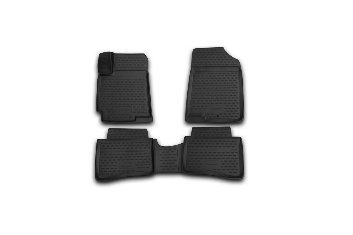 Набор автомобильных 3D-ковриков Novline-Autofamily для Hyundai Solaris, 2014->, седан, хэтчбек, в салон, 4 штORIG.3D.20.59.210Набор Novline-Autofamily состоит из 4 ковриков, изготовленных из полиуретана. Основная функция ковров - защита салона автомобиля от загрязнения и влаги. Это достигается за счет высоких бортов, перемычки на тоннель заднего ряда сидений, элементов формы и текстуры, свойств материала, а также запатентованной технологией 3D-перемычки в зоне отдыха ноги водителя, что обеспечивает дополнительную защиту, сохраняя салон автомобиля в первозданном виде. Материал, из которого сделаны коврики, обладает антискользящими свойствами. Для фиксации ковров в салоне автомобиля в комплекте с ними используются специальные крепежи. Форма передней части водительского ковра, уходящая под педаль акселератора, исключает нештатное заедание педалей. Набор подходит для Hyundai Solaris седан, хэтчбек с 2014 года выпуска.