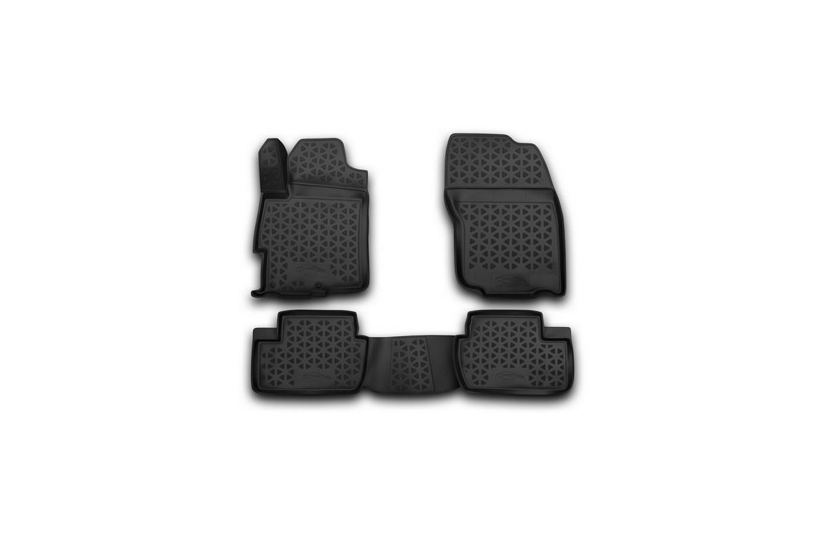 Набор автомобильных 3D-ковриков Novline-Autofamily для Mitsubishi Lancer X, 2007->, в салон, 4 штRSA-3D.35.13.210Набор Novline-Autofamily состоит из 4 ковриков, изготовленных из полиуретана. Основная функция ковров - защита салона автомобиля от загрязнения и влаги. Это достигается за счет высоких бортов, перемычки на тоннель заднего ряда сидений, элементов формы и текстуры, свойств материала, а также запатентованной технологией 3D-перемычки в зоне отдыха ноги водителя, что обеспечивает дополнительную защиту, сохраняя салон автомобиля в первозданном виде. Материал, из которого сделаны коврики, обладает антискользящими свойствами. Для фиксации ковров в салоне автомобиля в комплекте с ними используются специальные крепежи. Форма передней части водительского ковра, уходящая под педаль акселератора, исключает нештатное заедание педалей. Набор подходит для Mitsubishi Lancer X с 2007 года выпуска.