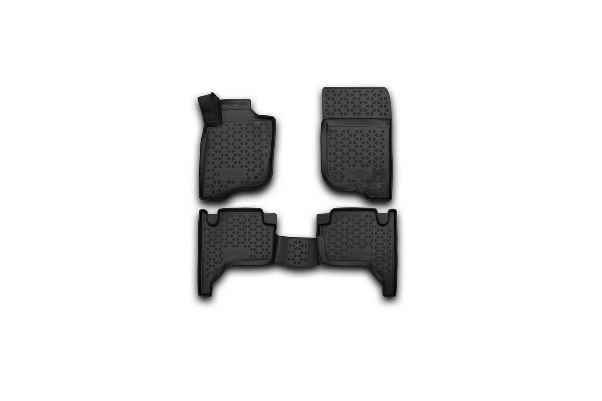 Набор автомобильных 3D-ковриков Novline-Autofamily для Mitsubishi L-200, 2005-2015, в салон, 4 штRSA-3D.35.15.210Набор Novline-Autofamily состоит из 4 ковриков, изготовленных из полиуретана. Основная функция ковров - защита салона автомобиля от загрязнения и влаги. Это достигается за счет высоких бортов, перемычки на тоннель заднего ряда сидений, элементов формы и текстуры, свойств материала, а также запатентованной технологией 3D-перемычки в зоне отдыха ноги водителя, что обеспечивает дополнительную защиту, сохраняя салон автомобиля в первозданном виде. Материал, из которого сделаны коврики, обладает антискользящими свойствами. Для фиксации ковров в салоне автомобиля в комплекте с ними используются специальные крепежи. Форма передней части водительского ковра, уходящая под педаль акселератора, исключает нештатное заедание педалей. Набор подходит для Mitsubishi L-200 2005-2015 года выпуска.