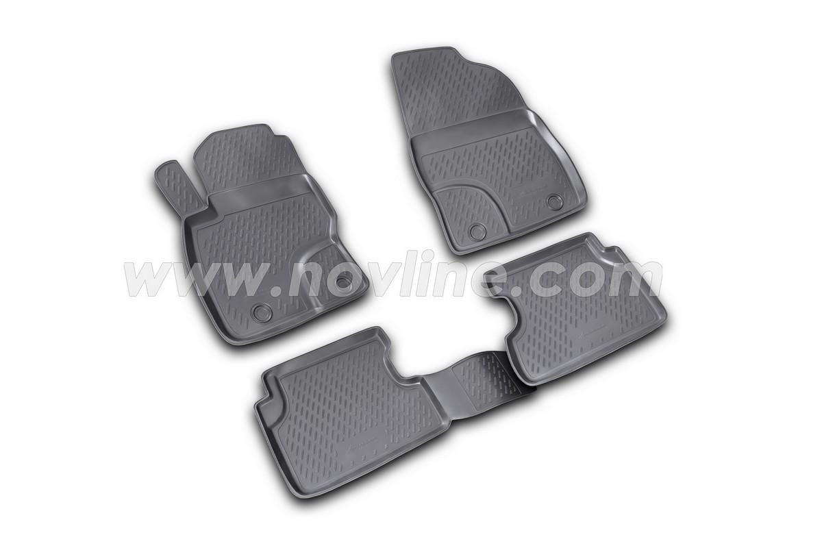 Коврики в салон автомобиля Novline-Autofamily для Ford Focus II, 2004 -, 4 штs000.5Коврики Novline-Autofamily улучшат внешний вид салона автомобиля и надежно уберегут его от пыли, грязи и сырости, а значит, защитят кузов от коррозии. Полиуретановые коврики гладкие, приятные и не пропускает влагу. Полиуретановые автомобильные коврики произведены из высококачественного материала, который держит форму и не пачкает обувь. Коврики надежно крепятся на полу и не скользят, что очень важно во время движения, особенно для водителя. Изделия из полиуретана надежно удерживают грязь и влагу, при этом всегда выглядят довольно опрятно. И чистятся они очень просто: как при помощи автомобильного пылесоса, так и различными моющими средствами.