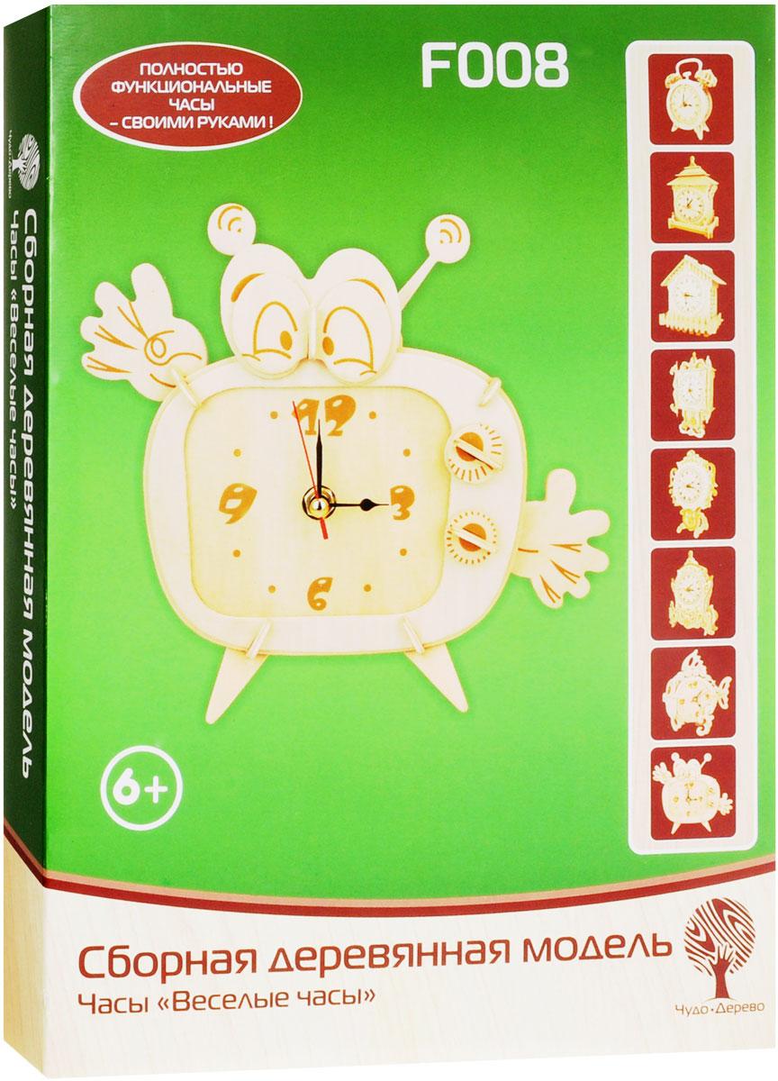 VGA Wooden Toys Сборная деревянная модель Веселые часыF008Сборная деревянная модель VGA Wooden Toys Веселые часы - это полностью функциональные часы своими руками! Набор включает в себя часовой механизм, набор стрелок, комплект деревянных пластин с вырезанными фрагментами (деталями) корпуса часов, шкурку для зачистки края деталей, схему сборки. Отдельные детали собираются (скрепляются) в порядке и очередности, согласно прилагаемой схемы. Рекомендуется использовать клей ПВА для прочности соединений. Случайно сломанная деталь легко может быть восстановлена с использованием клея ПВА. Сборная деревянная модель VGA Wooden Toys Веселые часы - это стильный подарок для детей и взрослых! Для работы часов необходима 1 батарейка типа АА (не входит в комплект).