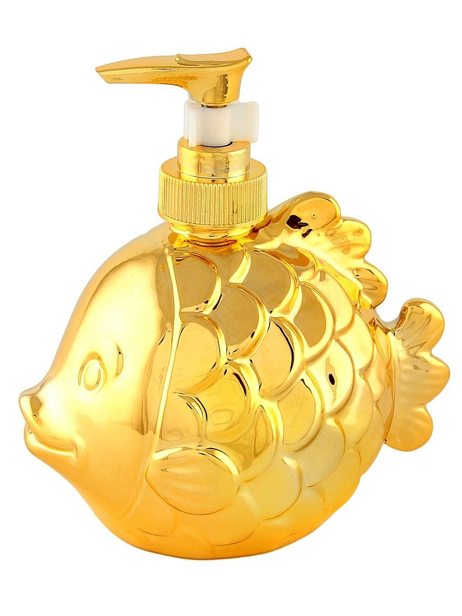 Диспенсер Elan Gallery Рыбка, цвет: золотой, 400 мл430066Диспенсер для жидкого мыла Elan Gallery Рыбка, изготовленный из керамики, отлично подойдет для вашей ванной комнаты. Изделие выполнено в виде рыбки. Такой аксессуар очень удобен в использовании, достаточно лишь перелить жидкое мыло в дозатор, а когда необходимо использование мыла, легким нажатием выдавить нужное количество. Дозатор Elan Gallery Рыбка создаст особую атмосферу уюта и комфорта в ванной комнате.