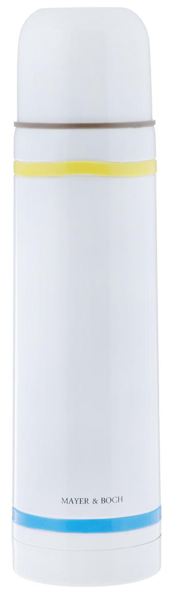 Термос Mayer & Boch, цвет: белый, желтый, голубой, 750 мл21480Термос Mayer & Boch выполнен из высококачественной нержавеющей стали. Цветное покрытие обеспечивает защиту от истирания корпуса, а силиконовые вставки предотвратят скольжение рук. Данная модель термоса прочная, долговечная и в тоже время легкая. Двойные стенки сохраняют температуру в течение 12 часов. Термос имеет вакуумную прослойку между внутренней колбой и внешней стенкой. Специальная термоизоляционная прокладка удерживает тепло. Термос снабжен плотно прилегающей закручивающейся пластиковой пробкой с нажимным клапаном и укомплектован теплоизолированной чашкой из нержавеющей стали и пластика. Для того чтобы налить содержимое термоса, нет необходимости откручивать пробку. Достаточно надавить на клапан, расположенный в центре. Легкий и удобный термос Mayer & Boch станет незаменимым спутником в ваших поездках. Яркий дизайн поднимет настроение в любую погоду и украсит Вашу кухню. Диаметр чашки (по верхнему краю): 7 см. Высота стенки чашки: 5,6 см. ...